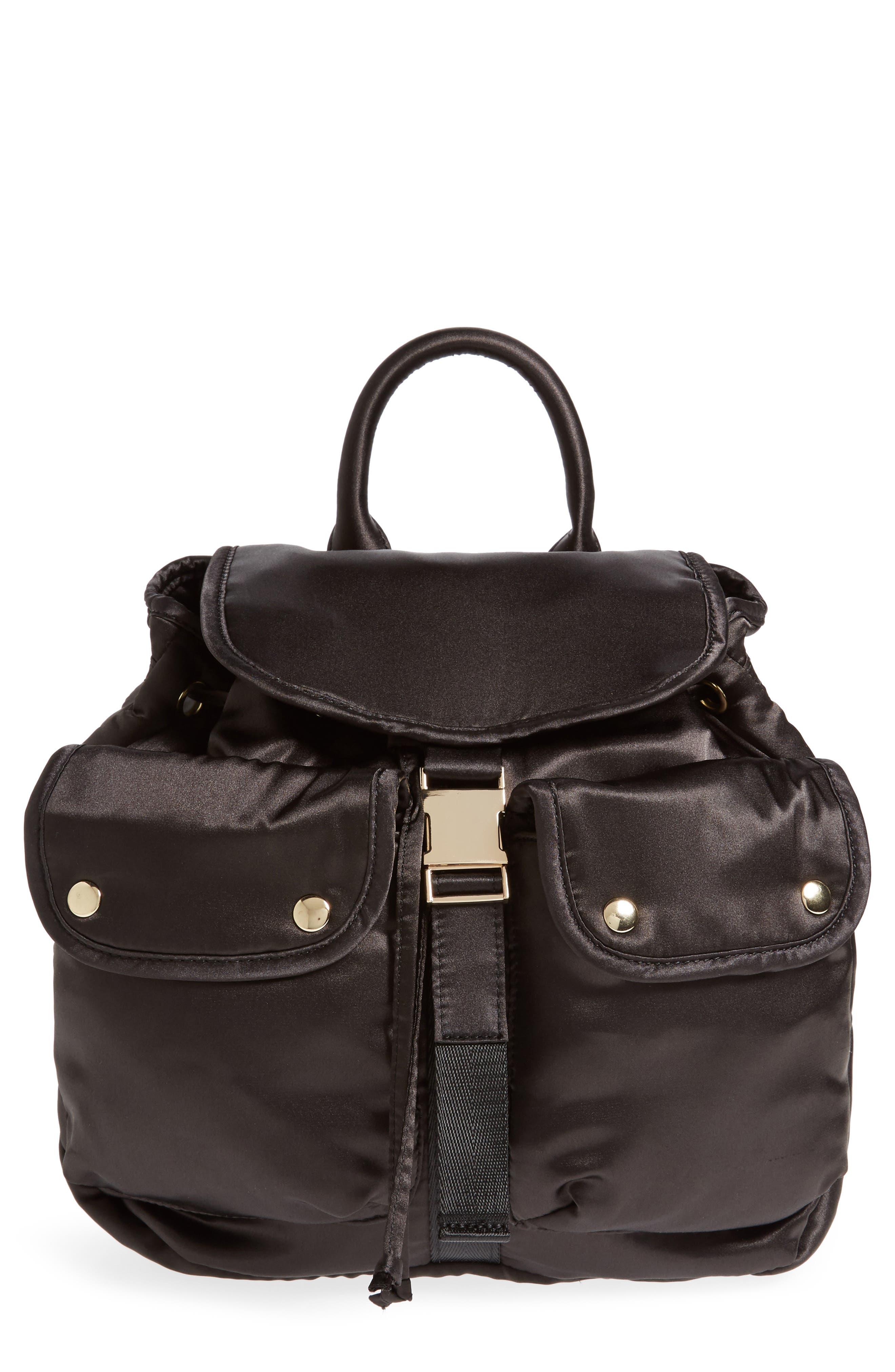 Small Satin Backpack,                         Main,                         color, Black