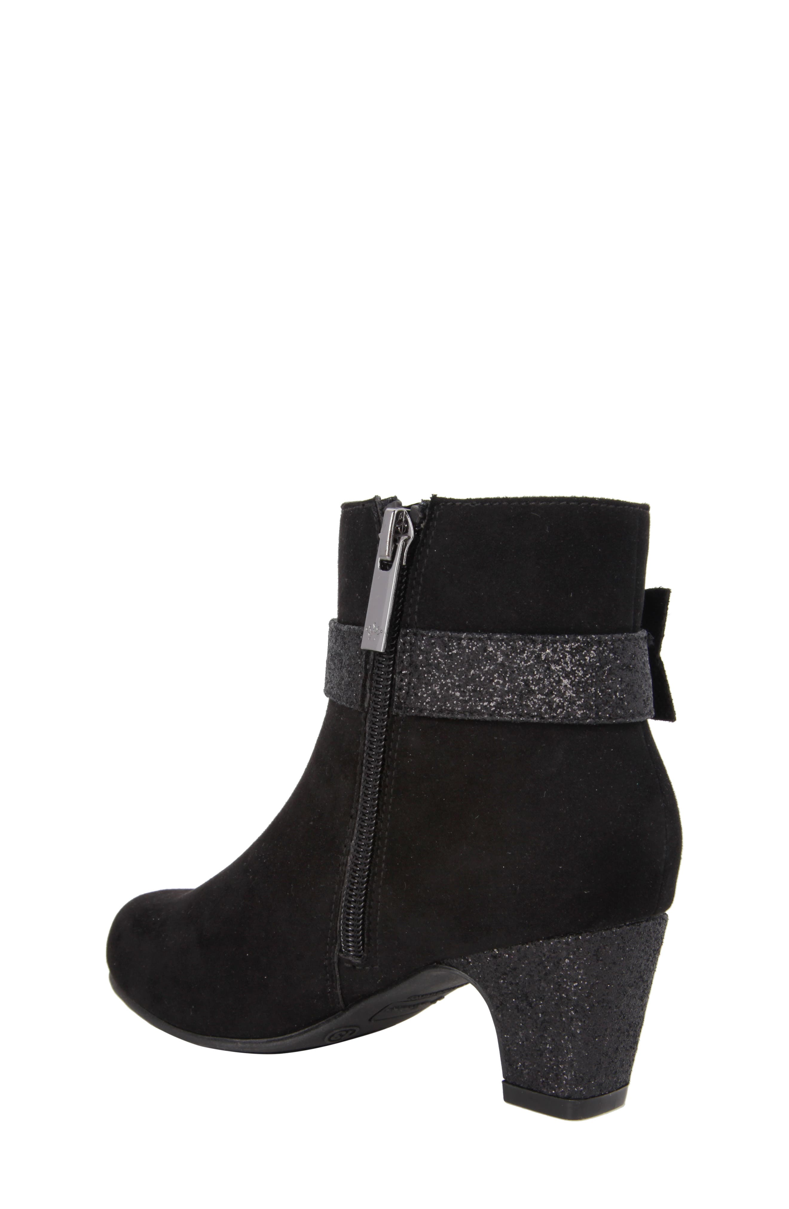 Glitter Bow Bootie,                             Alternate thumbnail 2, color,                             Black Suede/ Glitter