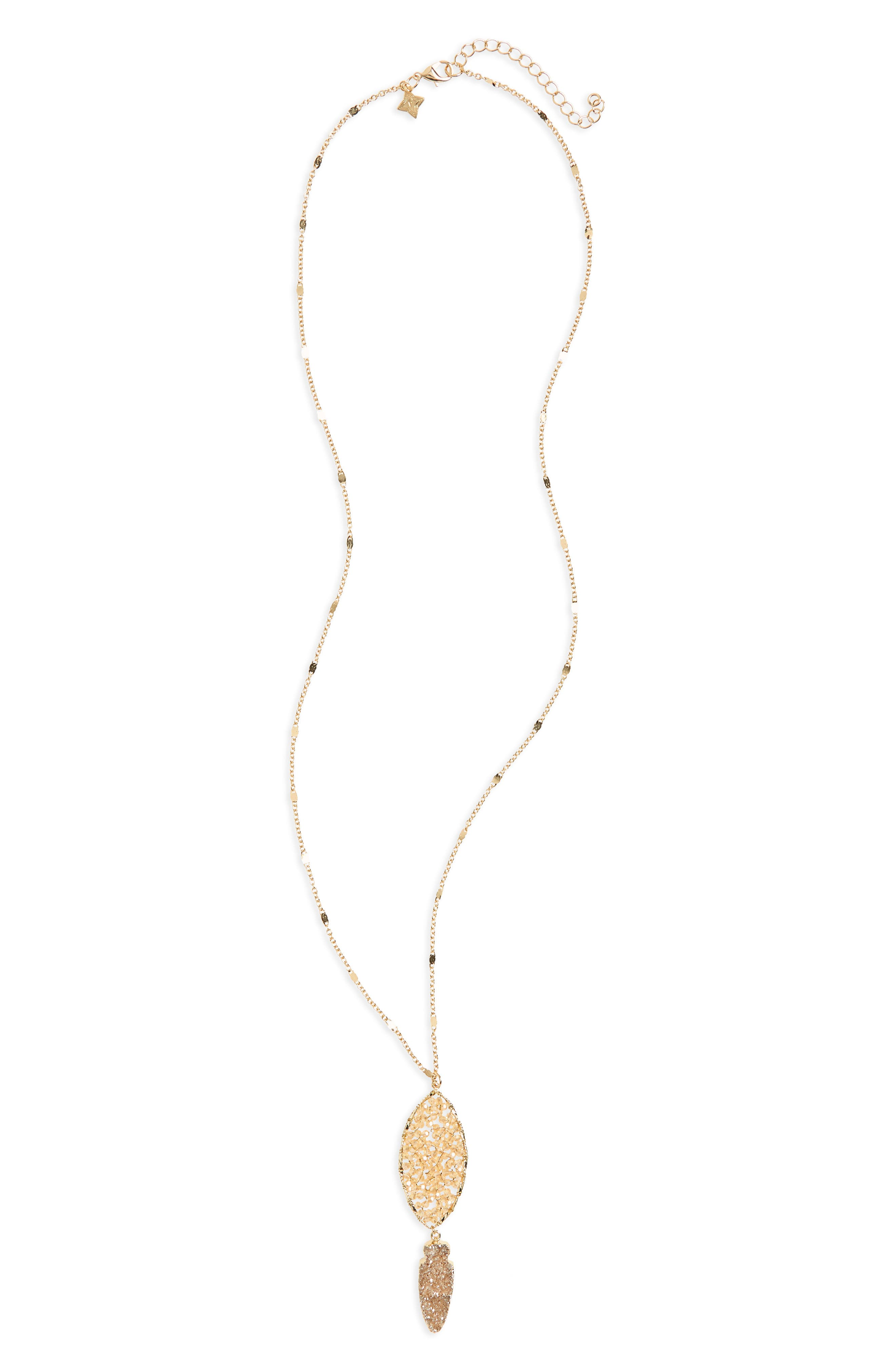 Main Image - Panacea Drusy Arrow Pendant Necklace
