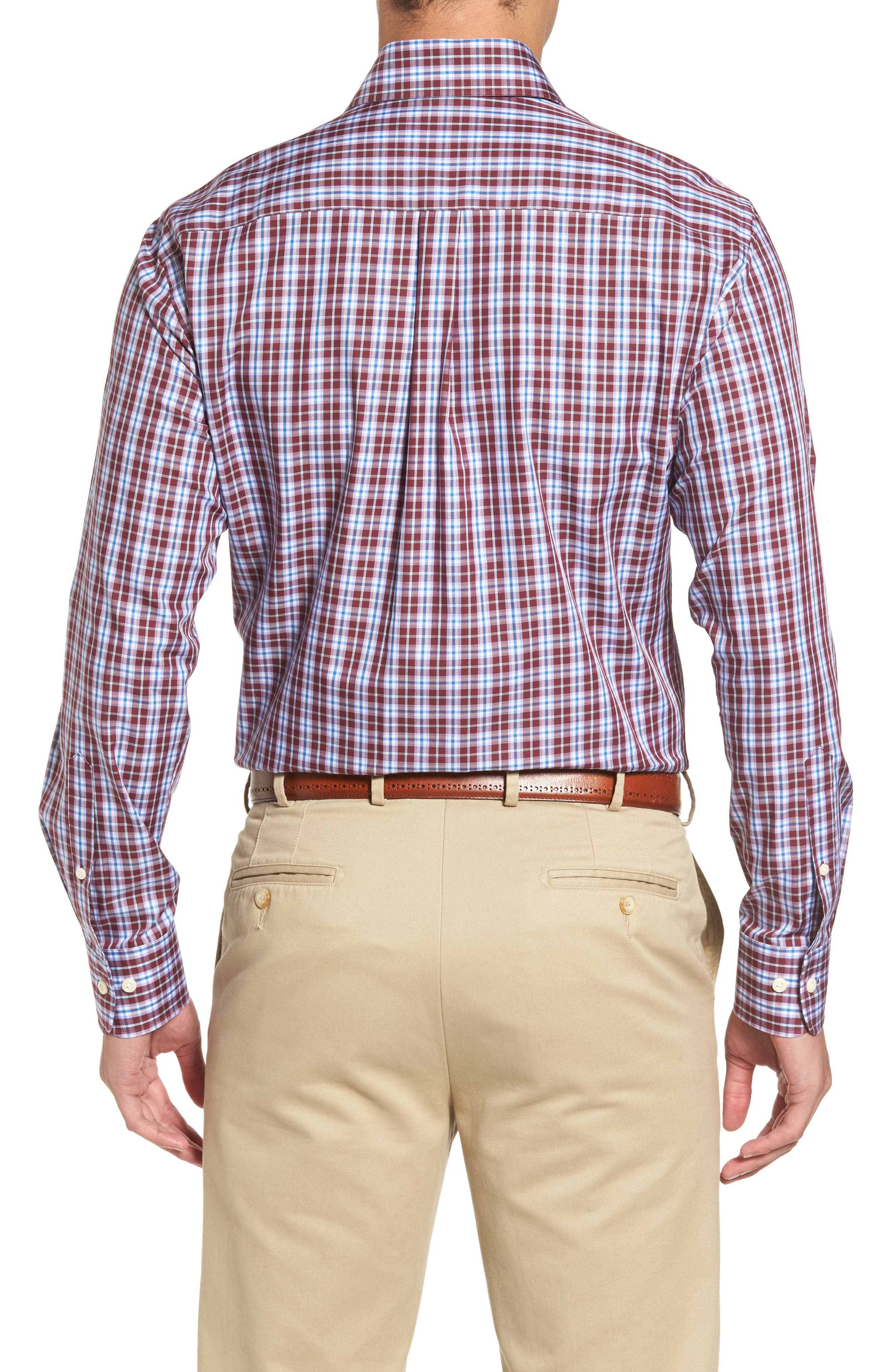Mitchell Plaid Sport Shirt,                             Alternate thumbnail 2, color,                             French Wine