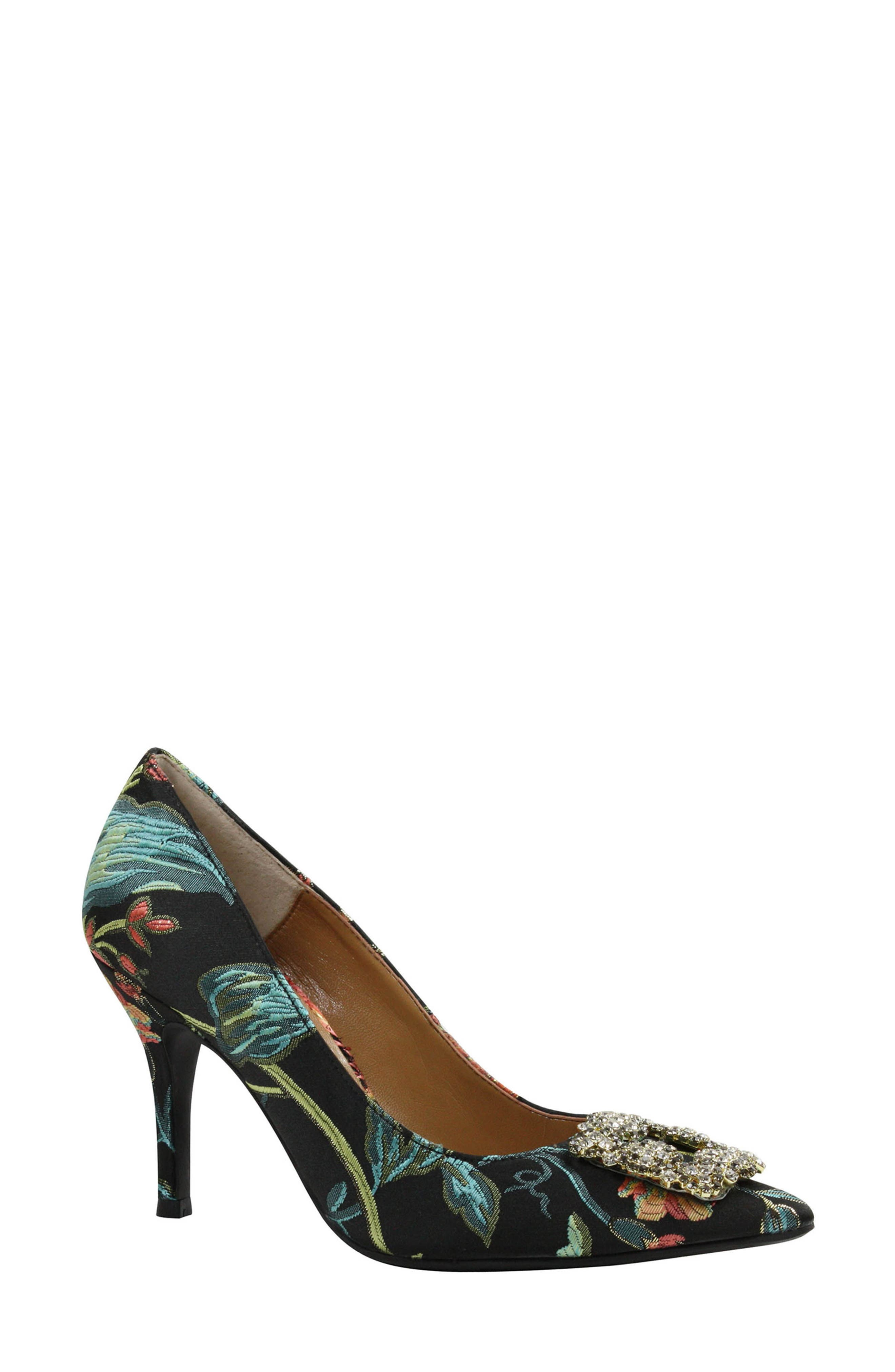 J.Reneé Bilboa Pointy Toe Pump,                             Main thumbnail 1, color,                             Black/ Teal/ Coral Fabric