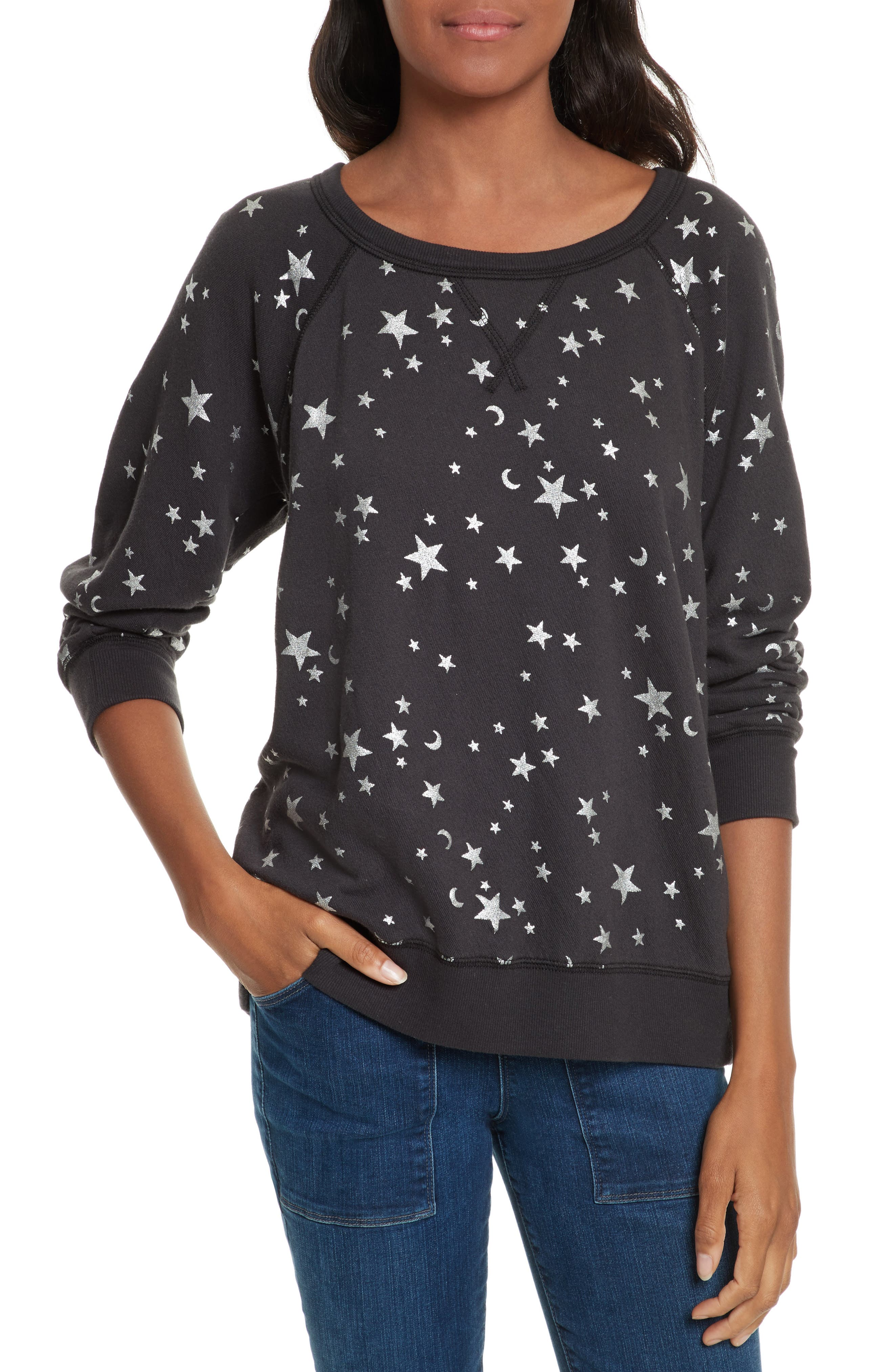 Edrie Foil Print Sweatshirt,                         Main,                         color, Silver Foil/ Caviar