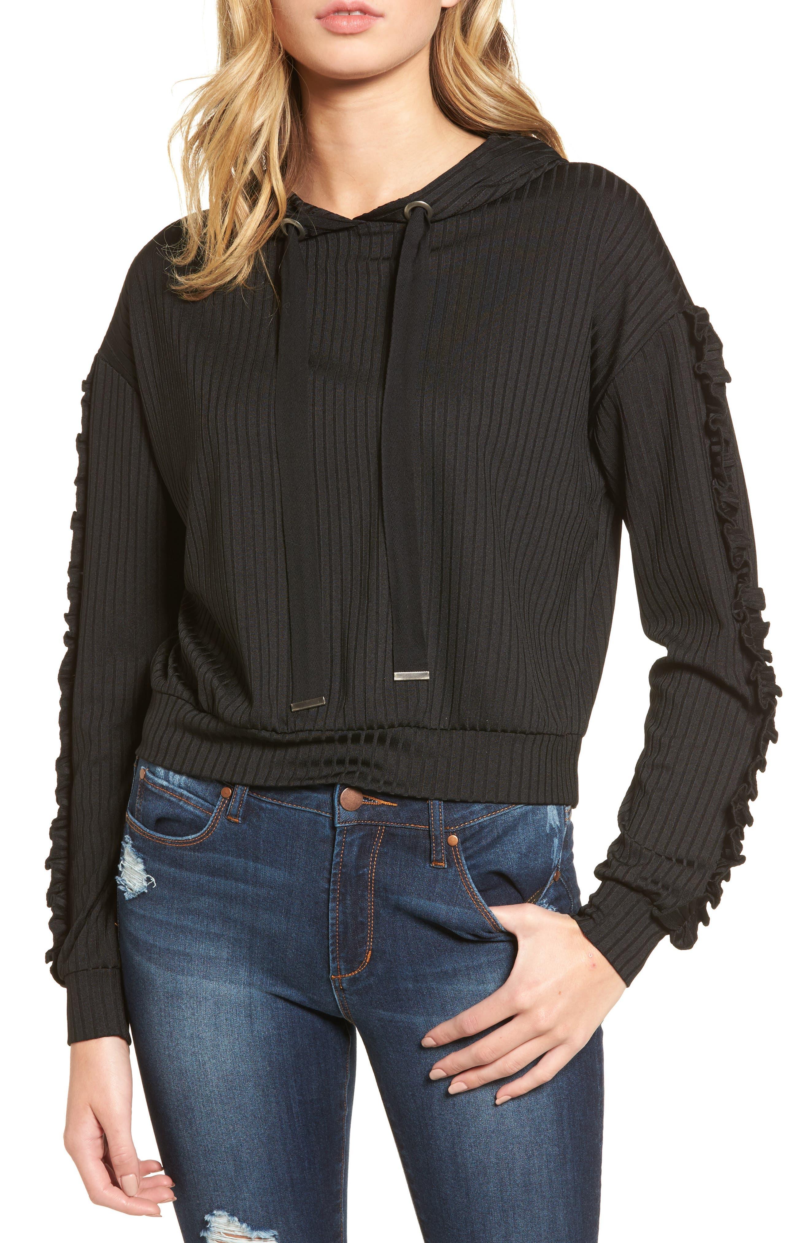 Ruffle Sleeve Ribbed Hoodie,                         Main,                         color, Black