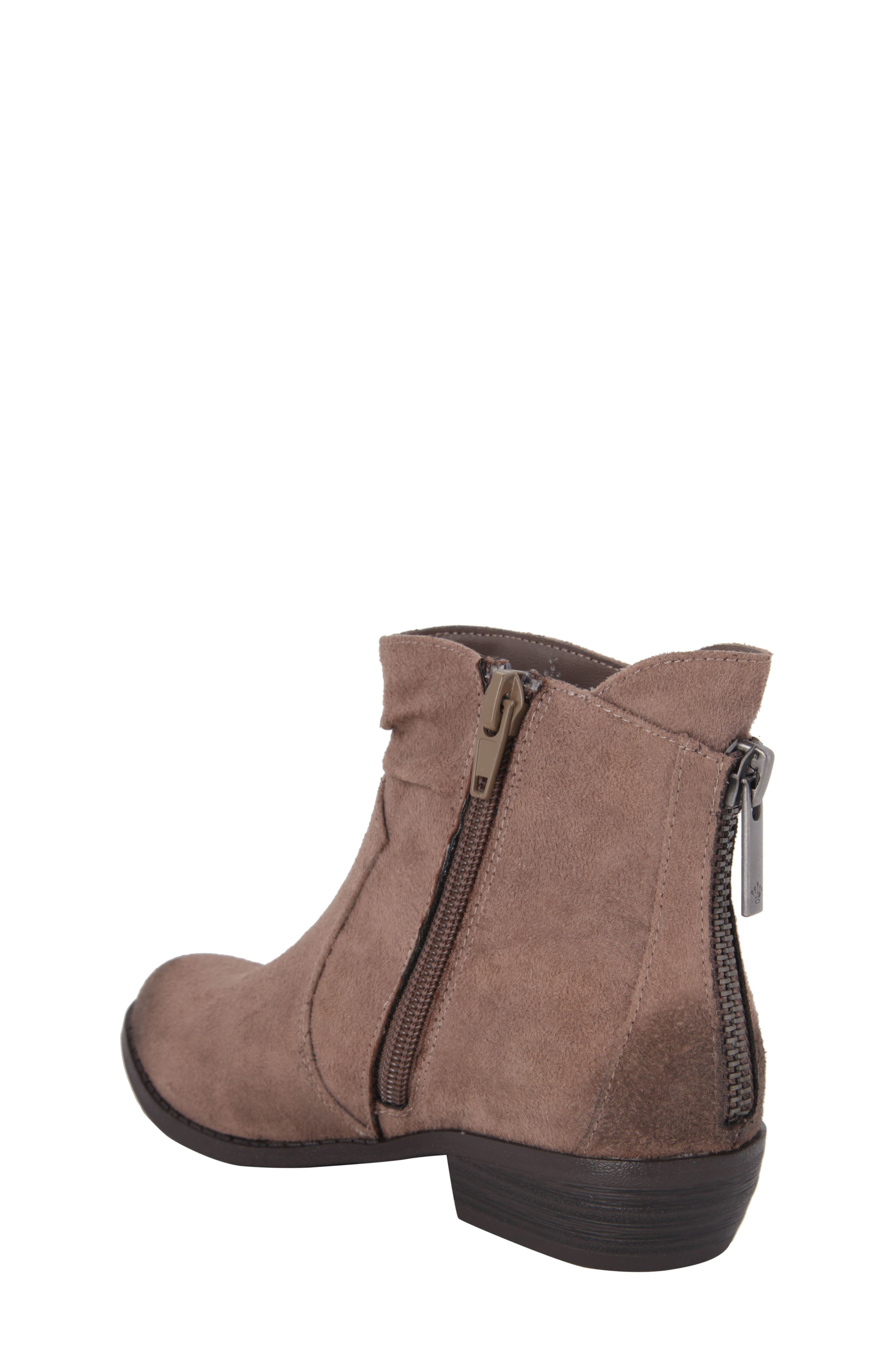 Delia Slightly Slouchy Bootie,                             Alternate thumbnail 2, color,                             Taupe Microsuede