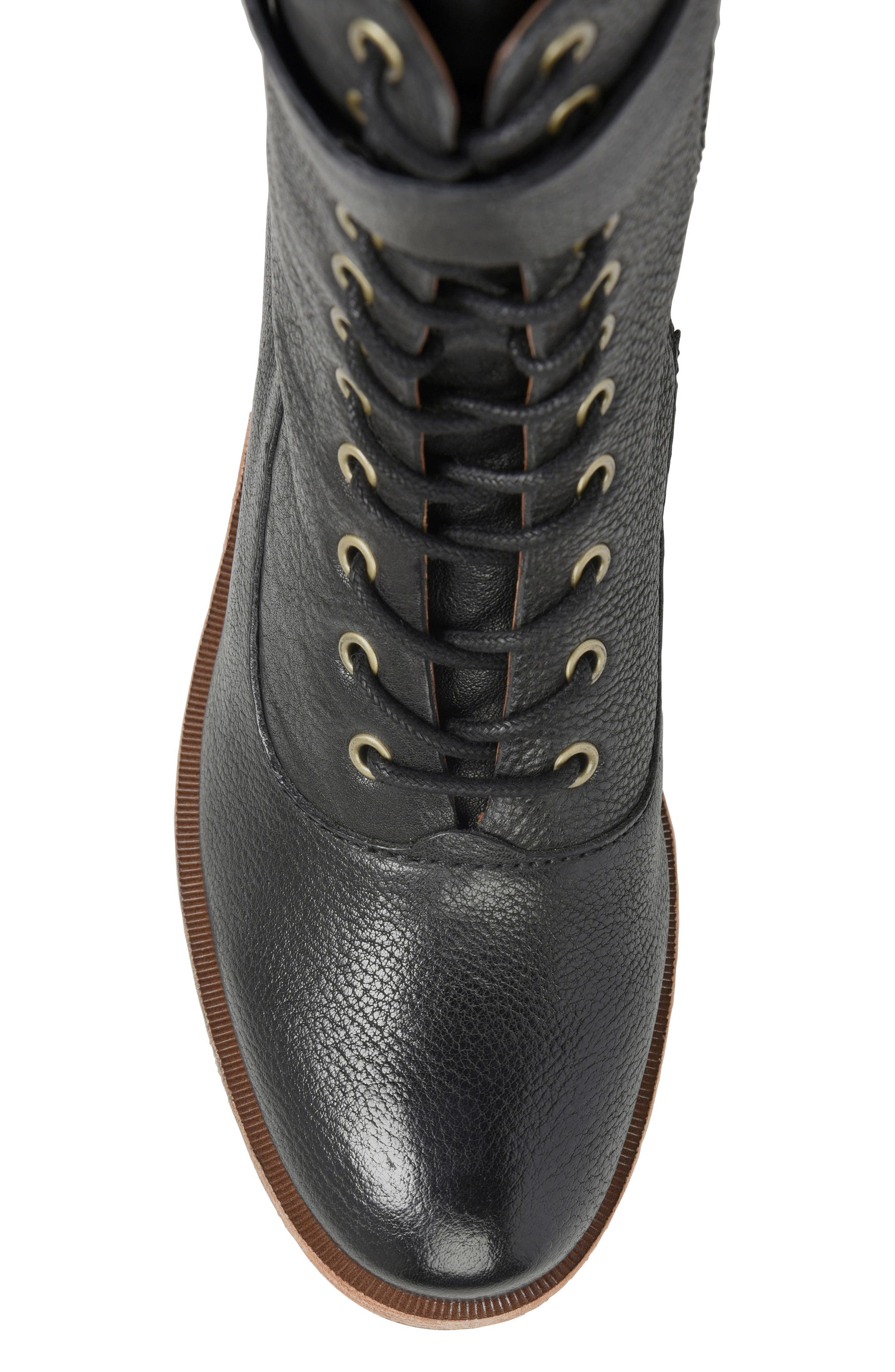 Mona Lace-Up Boot,                             Alternate thumbnail 5, color,                             Black Leather