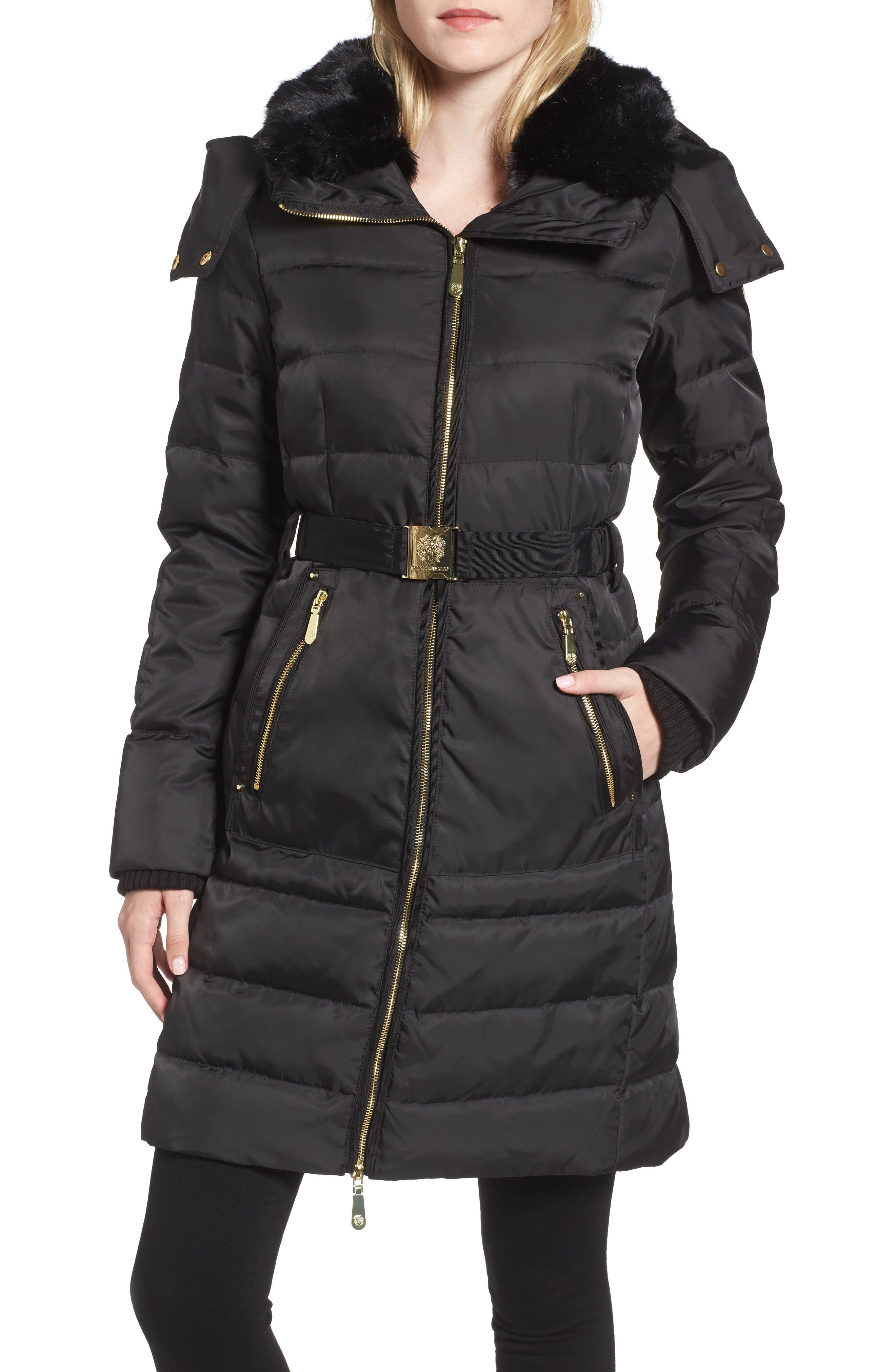 Belted Coat with Detachable Faux Fur,                         Main,                         color, Black