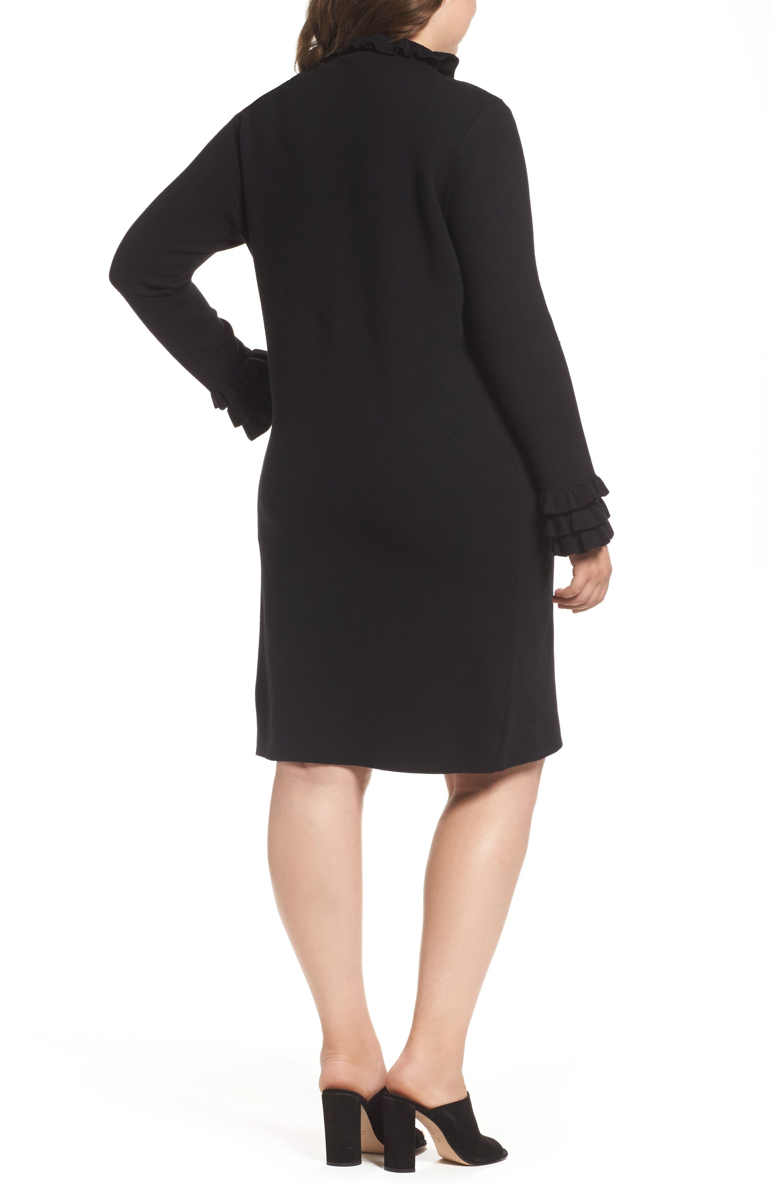 Ruffle Sleeve Sweater Dress,                             Alternate thumbnail 2, color,                             Black