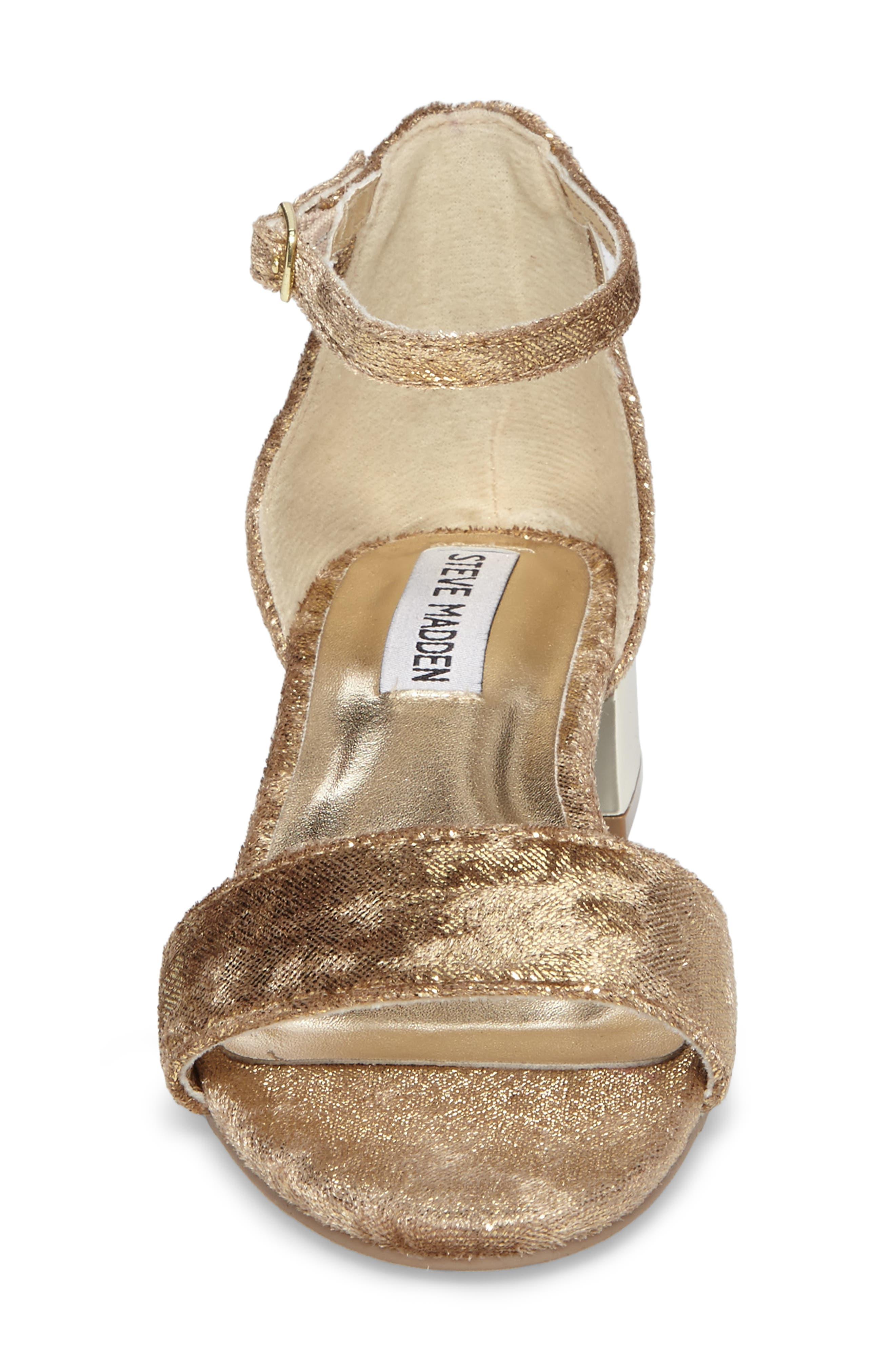 Jirene Metallic Sandal,                             Alternate thumbnail 4, color,                             Gold Crushed Velvet