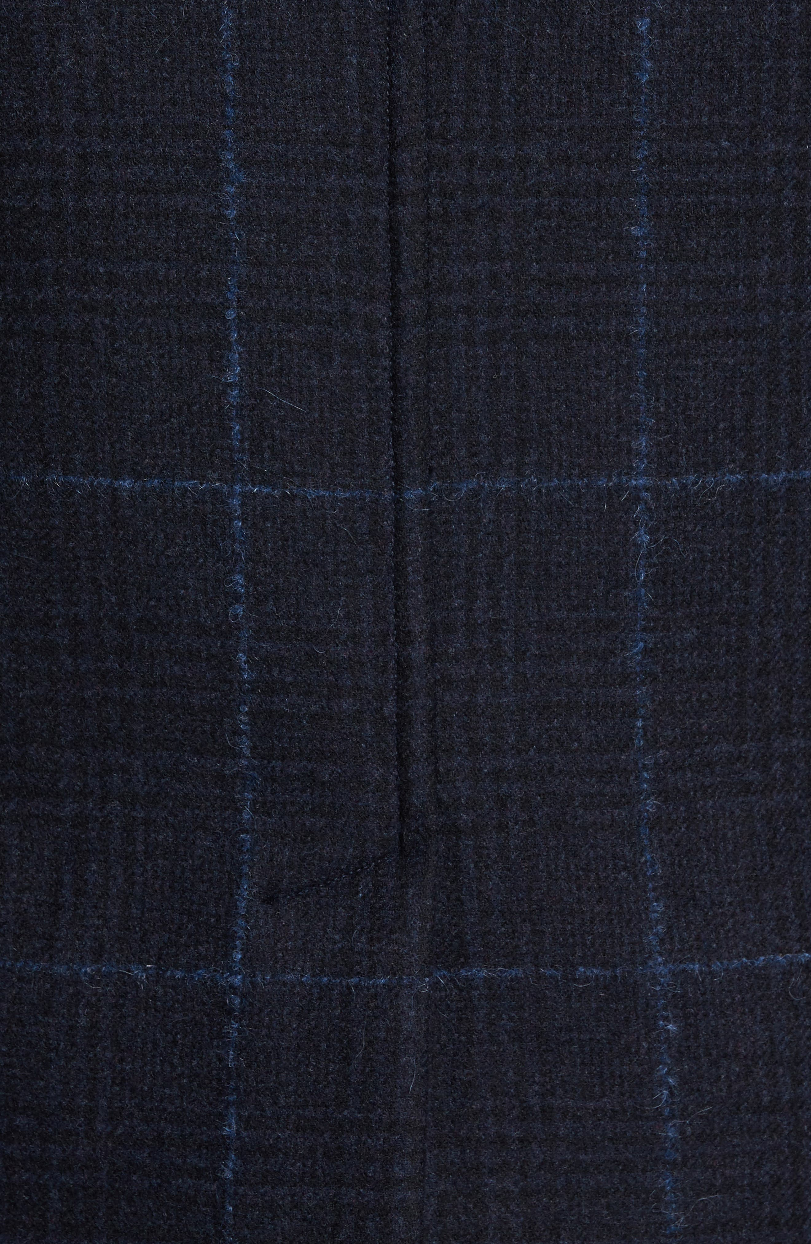 Wool Plaid Peacoat,                             Alternate thumbnail 5, color,                             Navy
