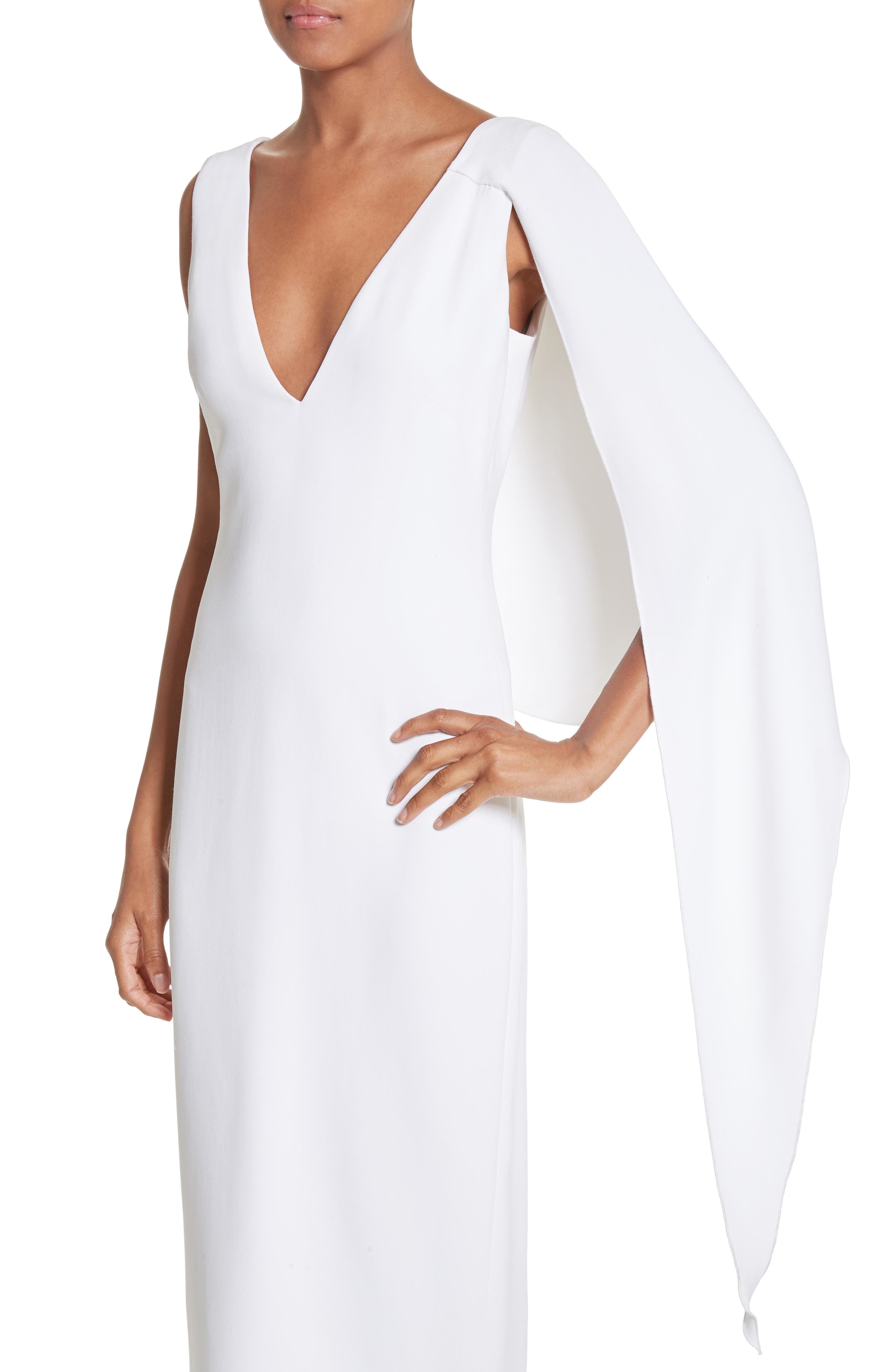 Leta Drape Dress,                             Alternate thumbnail 6, color,                             White