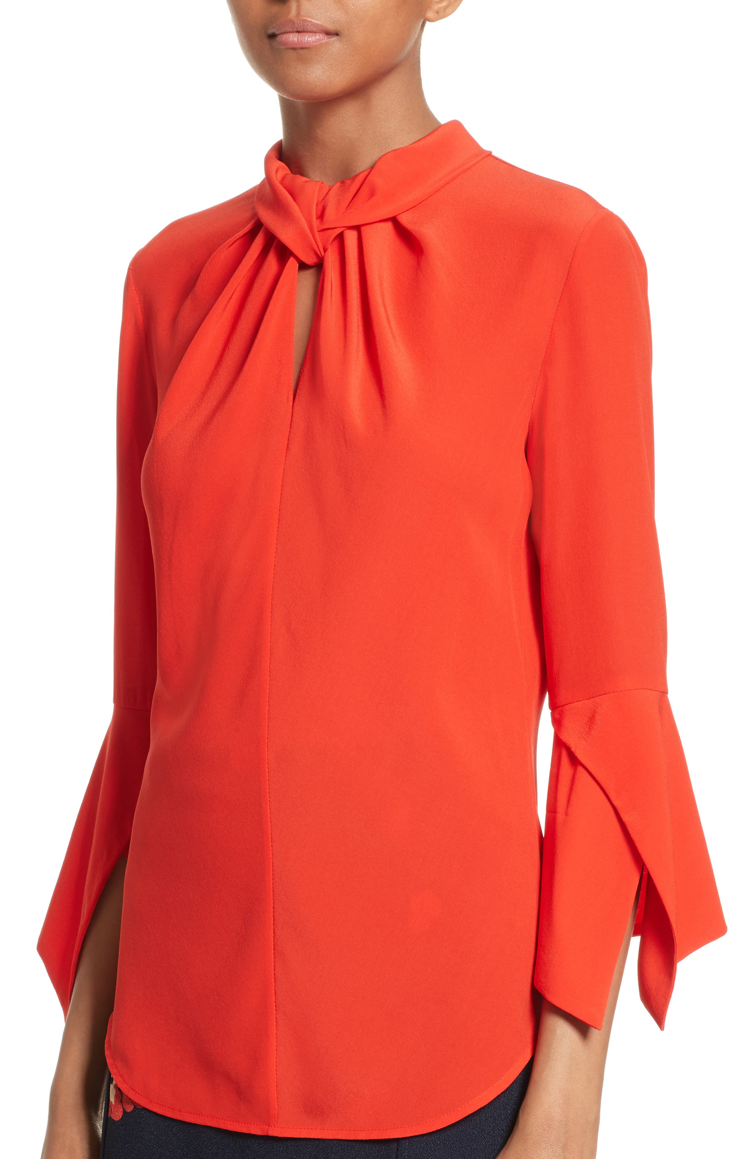 Twisted Silk Bell Sleeve Blouse,                             Alternate thumbnail 3, color,                             Red Candy