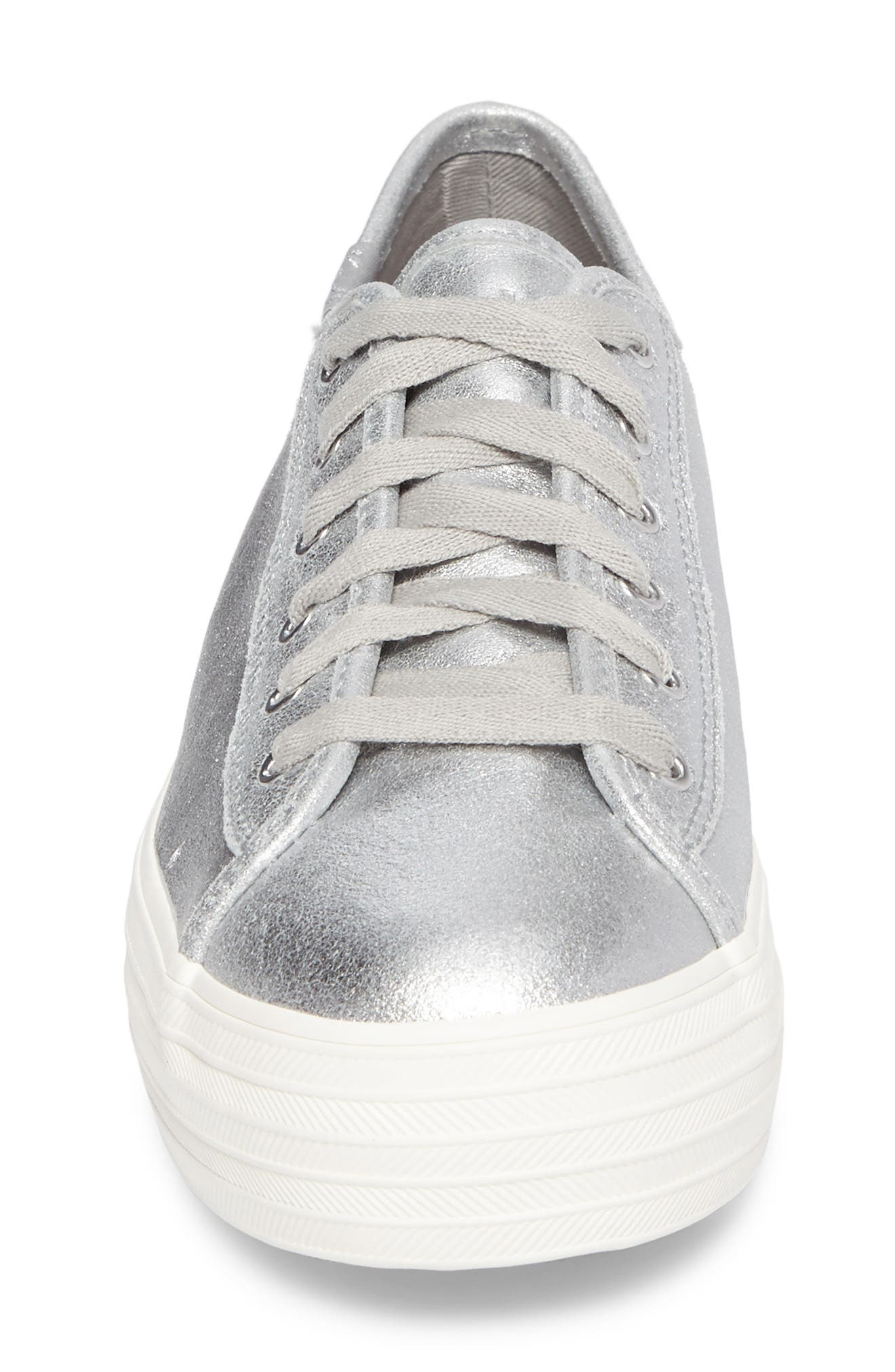Triple Kick Platform Sneaker,                             Alternate thumbnail 4, color,                             Silver