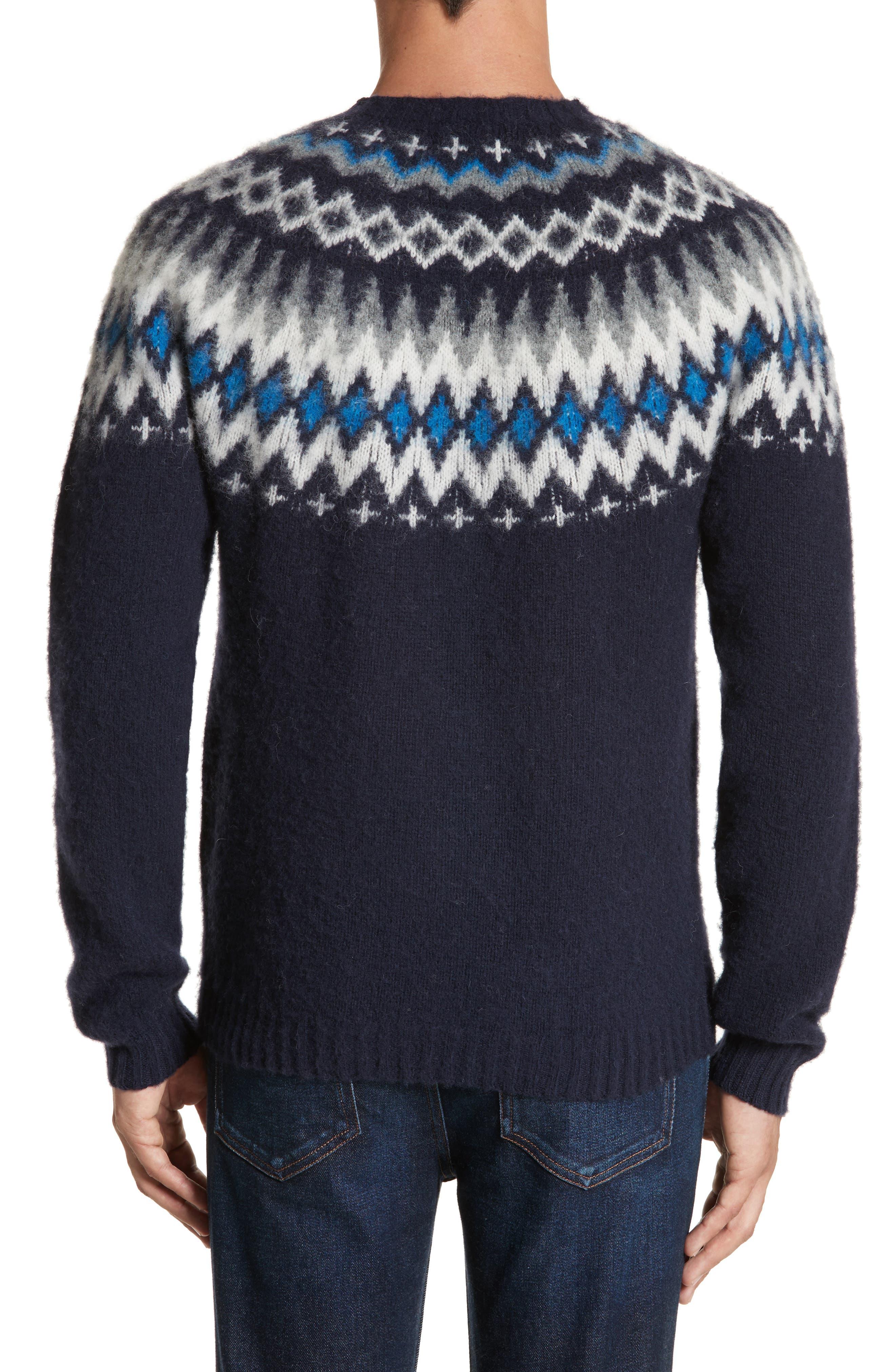 Nirnir Fair Isle Lambswool Sweater,                             Alternate thumbnail 2, color,                             Navy