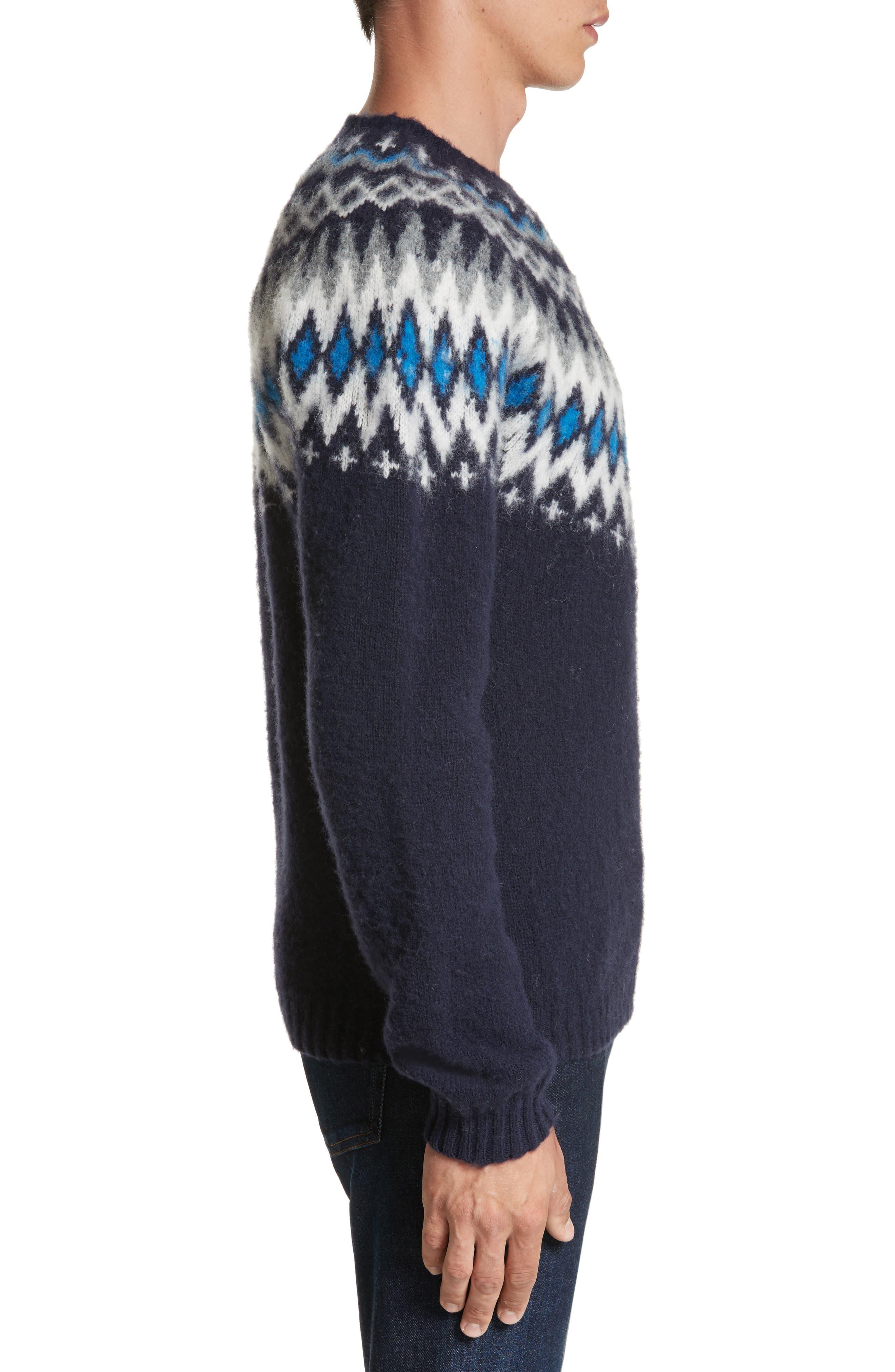 Nirnir Fair Isle Lambswool Sweater,                             Alternate thumbnail 3, color,                             Navy