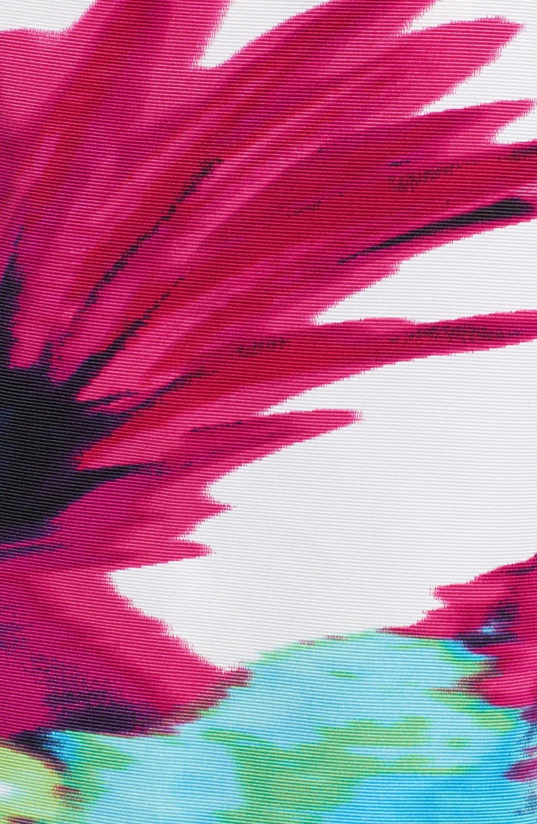 Belted Floral Print Fit & Flare Dress,                             Alternate thumbnail 4, color,                             Print