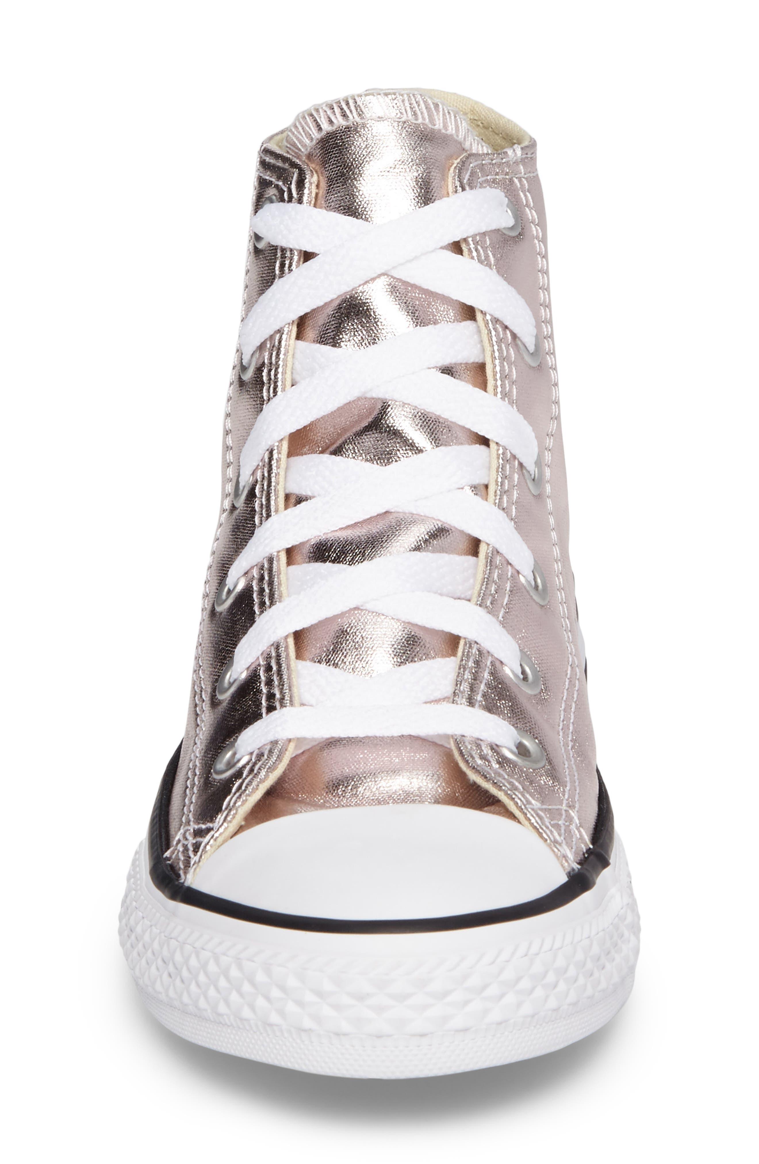 Chuck Taylor<sup>®</sup> All Star<sup>®</sup> Seasonal Metallic High Top Sneaker,                             Alternate thumbnail 4, color,                             Rose Quartz/ White Canvas