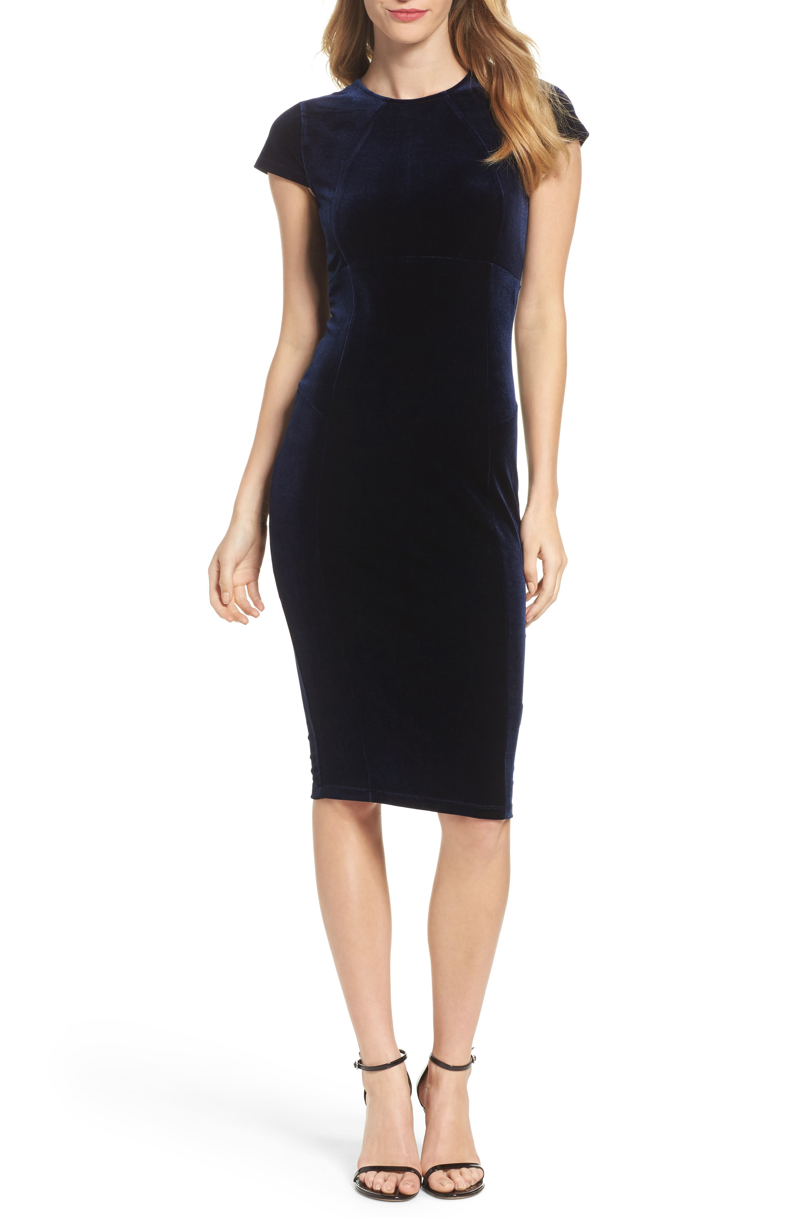 Vista Velvet Midi Dress,                         Main,                         color, Dark Navy