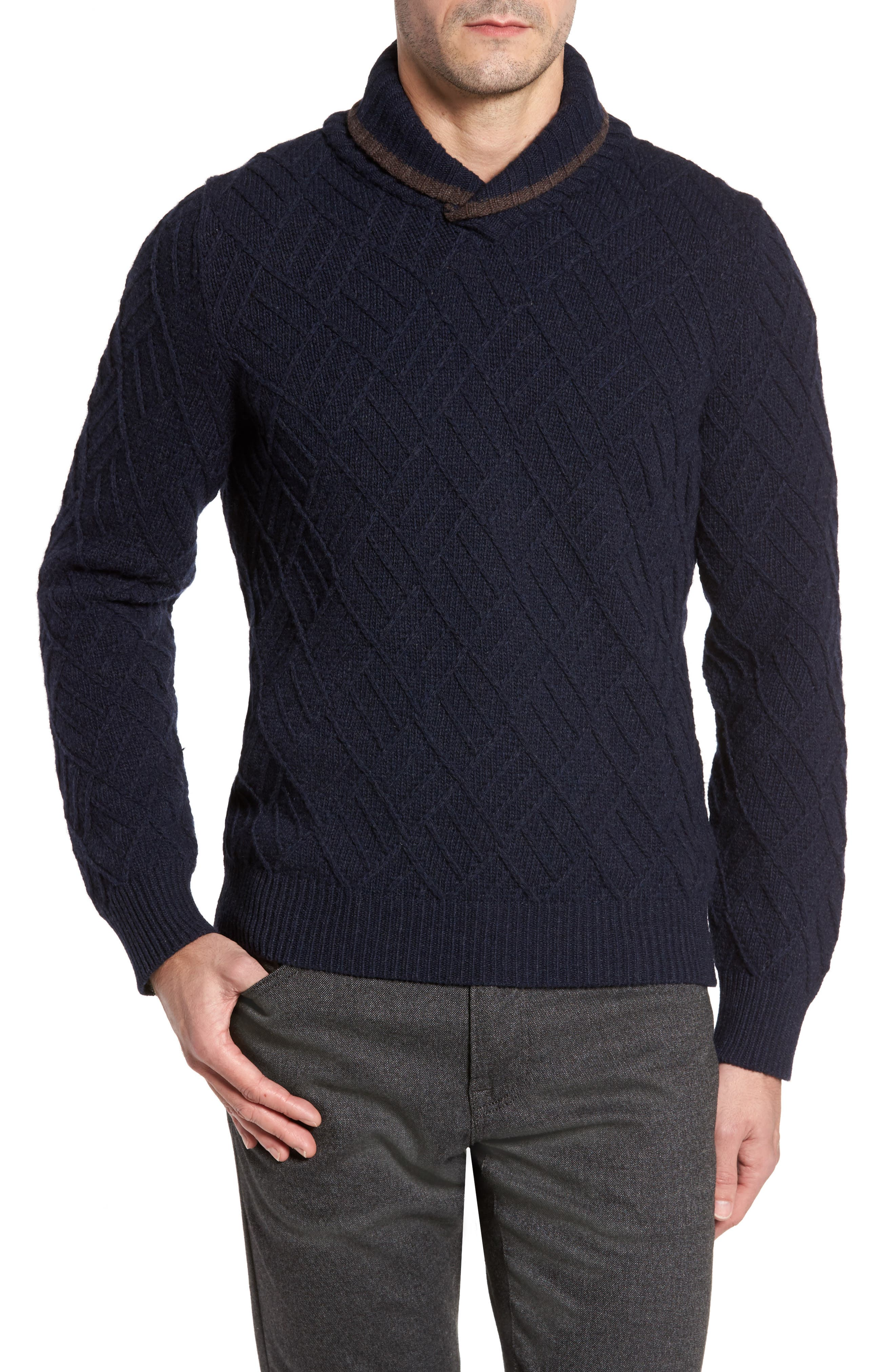 Textured Wool Sweater,                             Main thumbnail 1, color,                             Navy