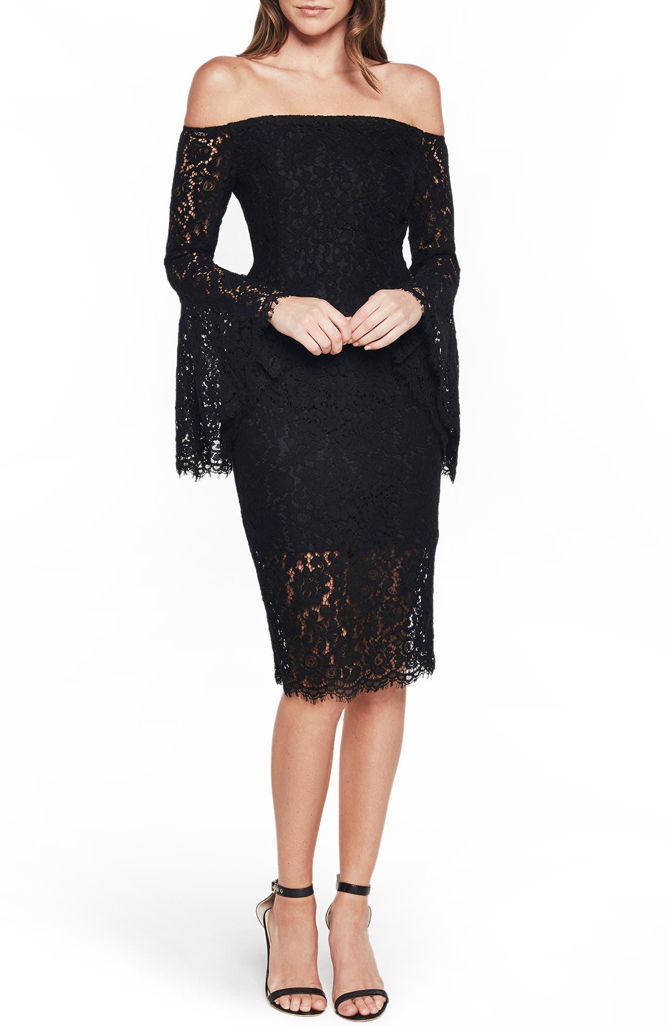 Solange Corded Lace Sheath Dress,                         Main,                         color, Black