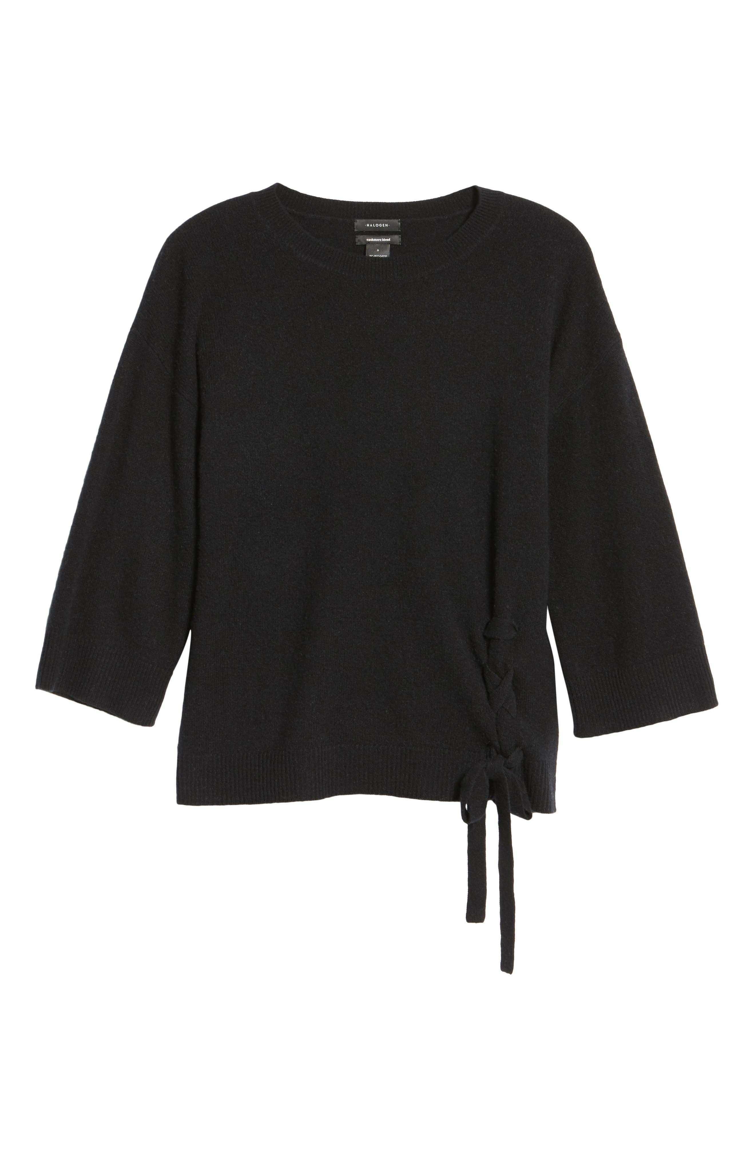 Side Tie Wool and Cashmere Sweater,                             Alternate thumbnail 6, color,                             Black