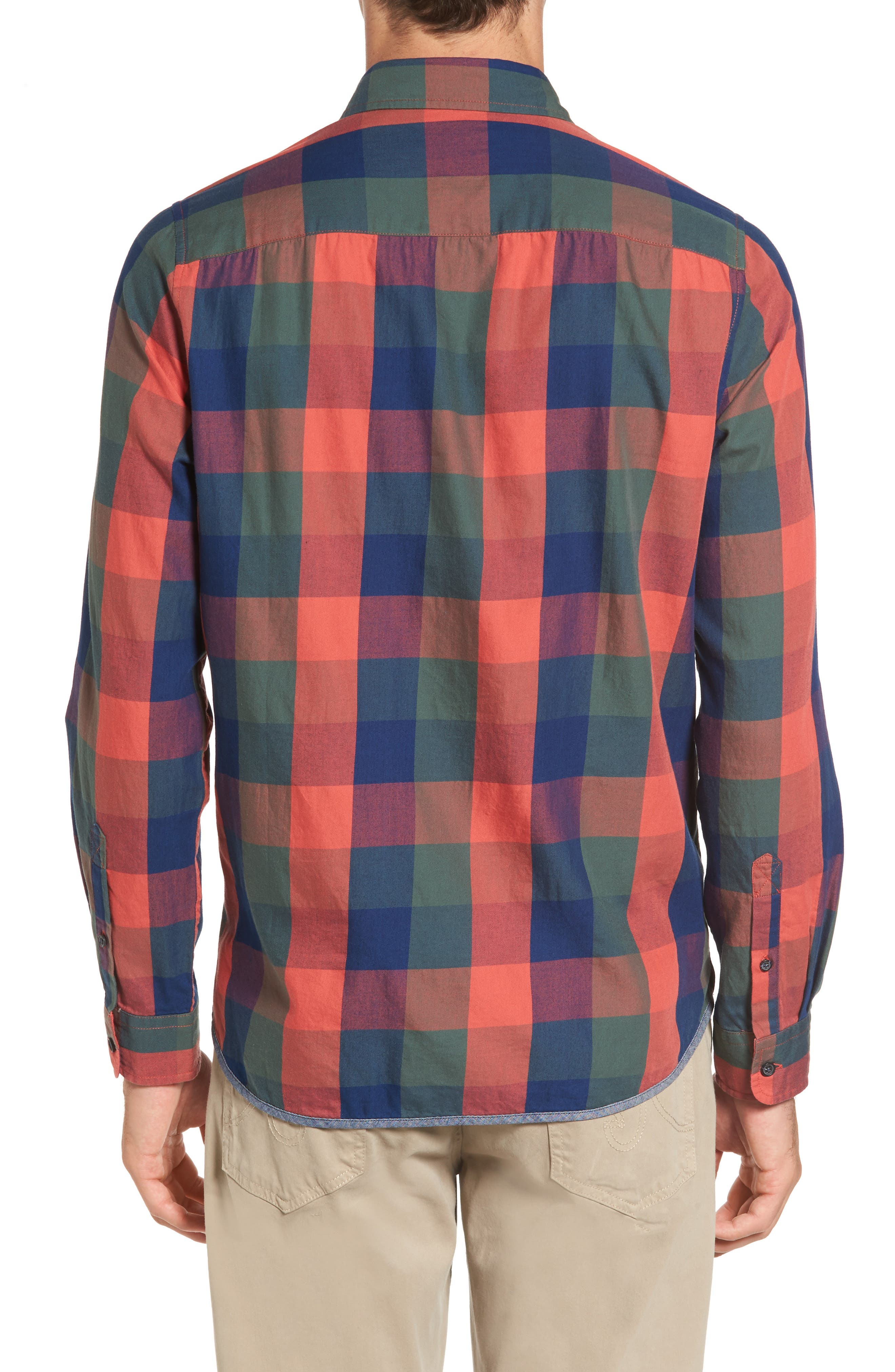 Trim Fit Plaid Sport Shirt,                             Alternate thumbnail 2, color,                             Indigo