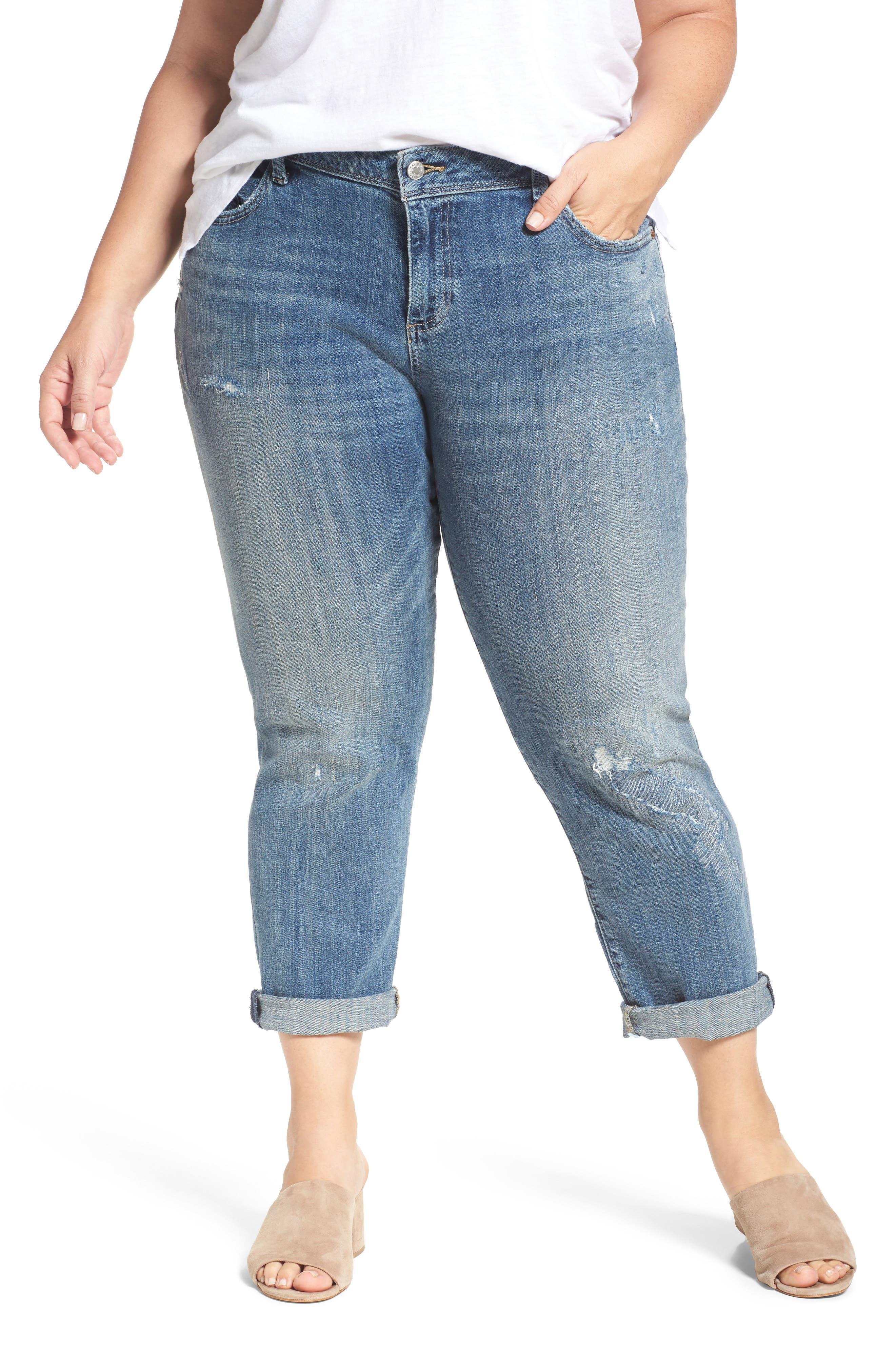 Alternate Image 1 Selected - Lucky Brand Reese Distressed Stretch Boyfriend Jeans (Plus Size)