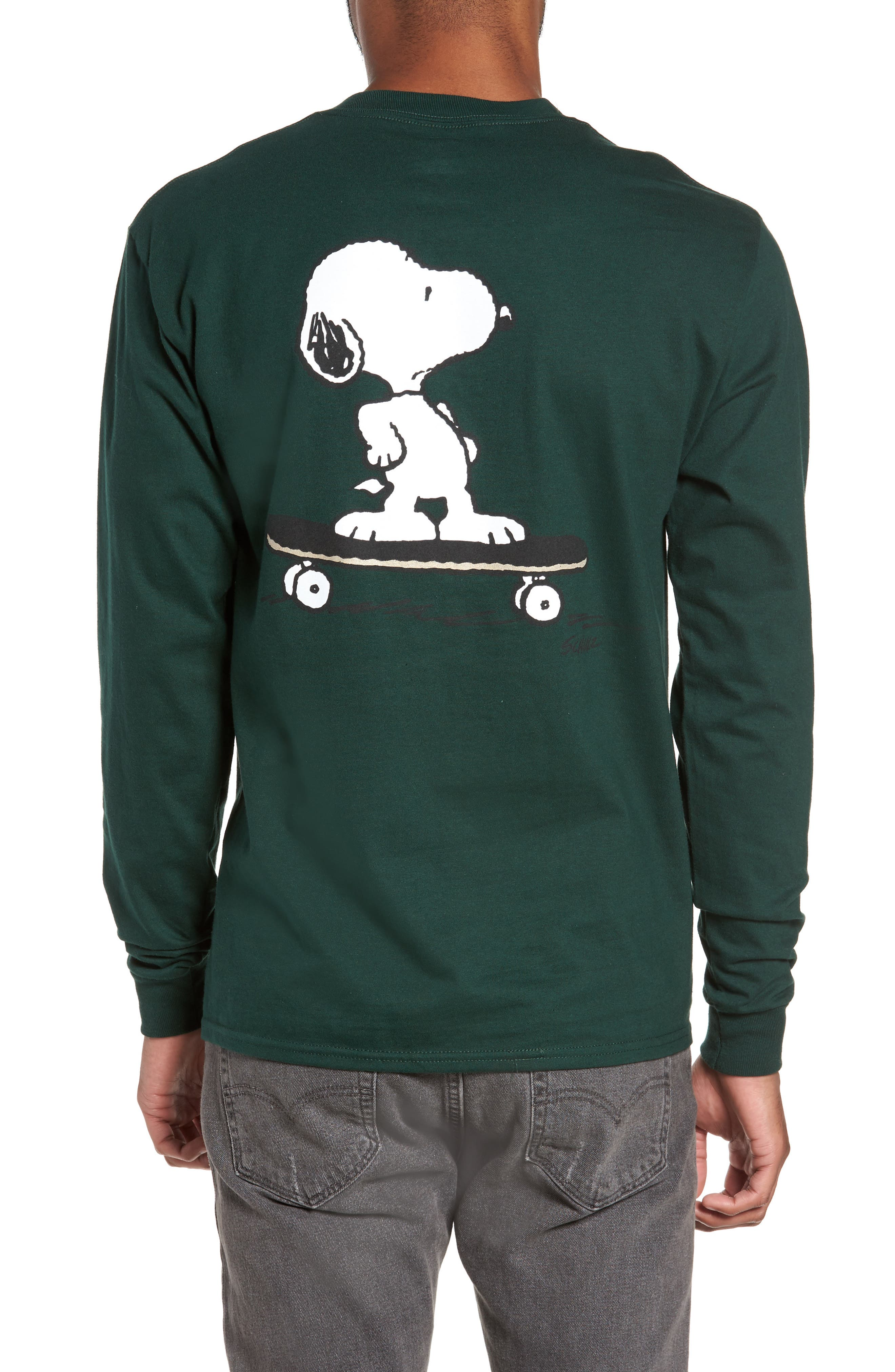 Alternate Image 4  - Peanuts Snoopy Skate Long Sleeve T-Shirt