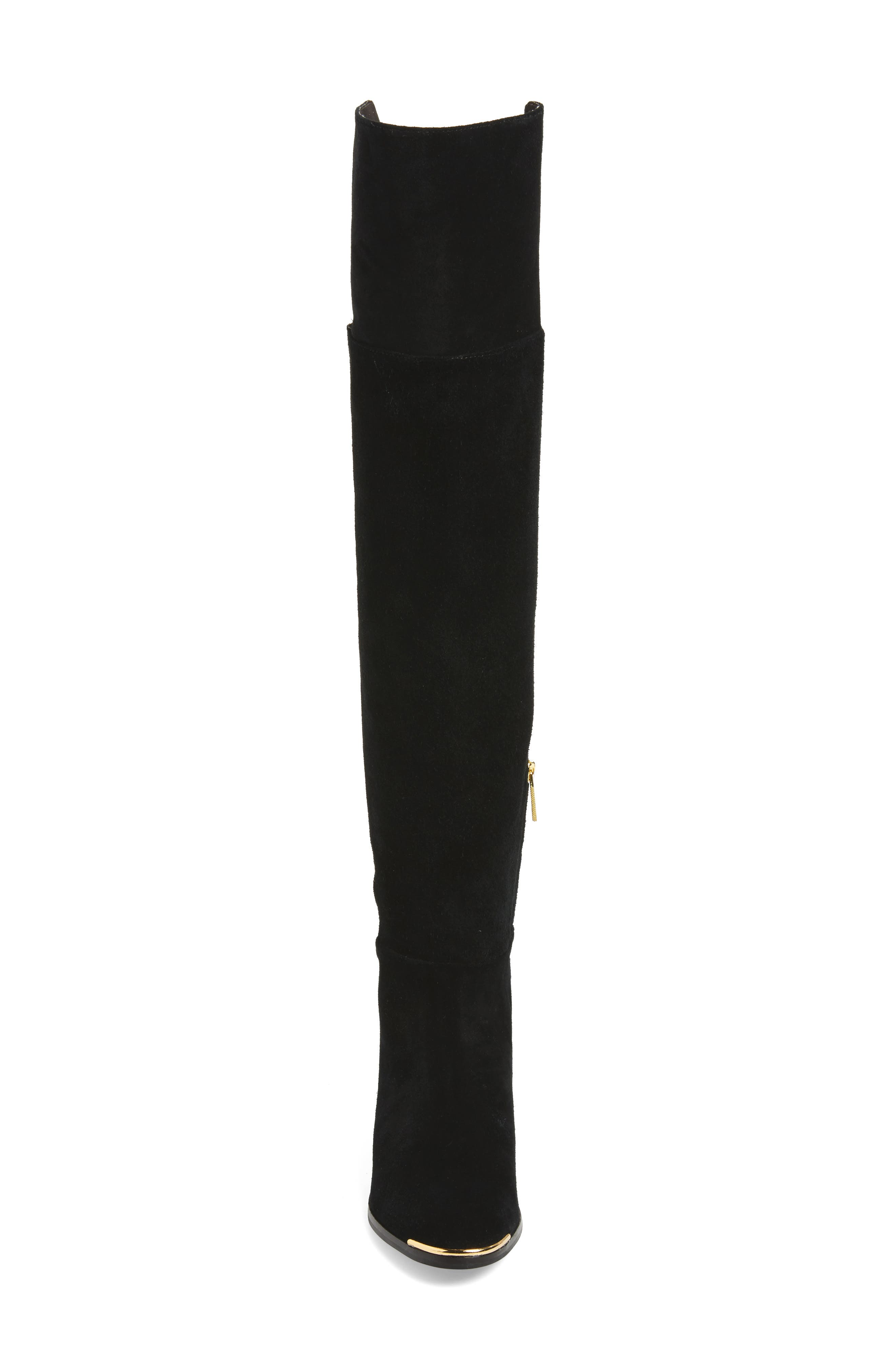 Nayomie Over the Knee Boot,                             Alternate thumbnail 4, color,                             Black Suede