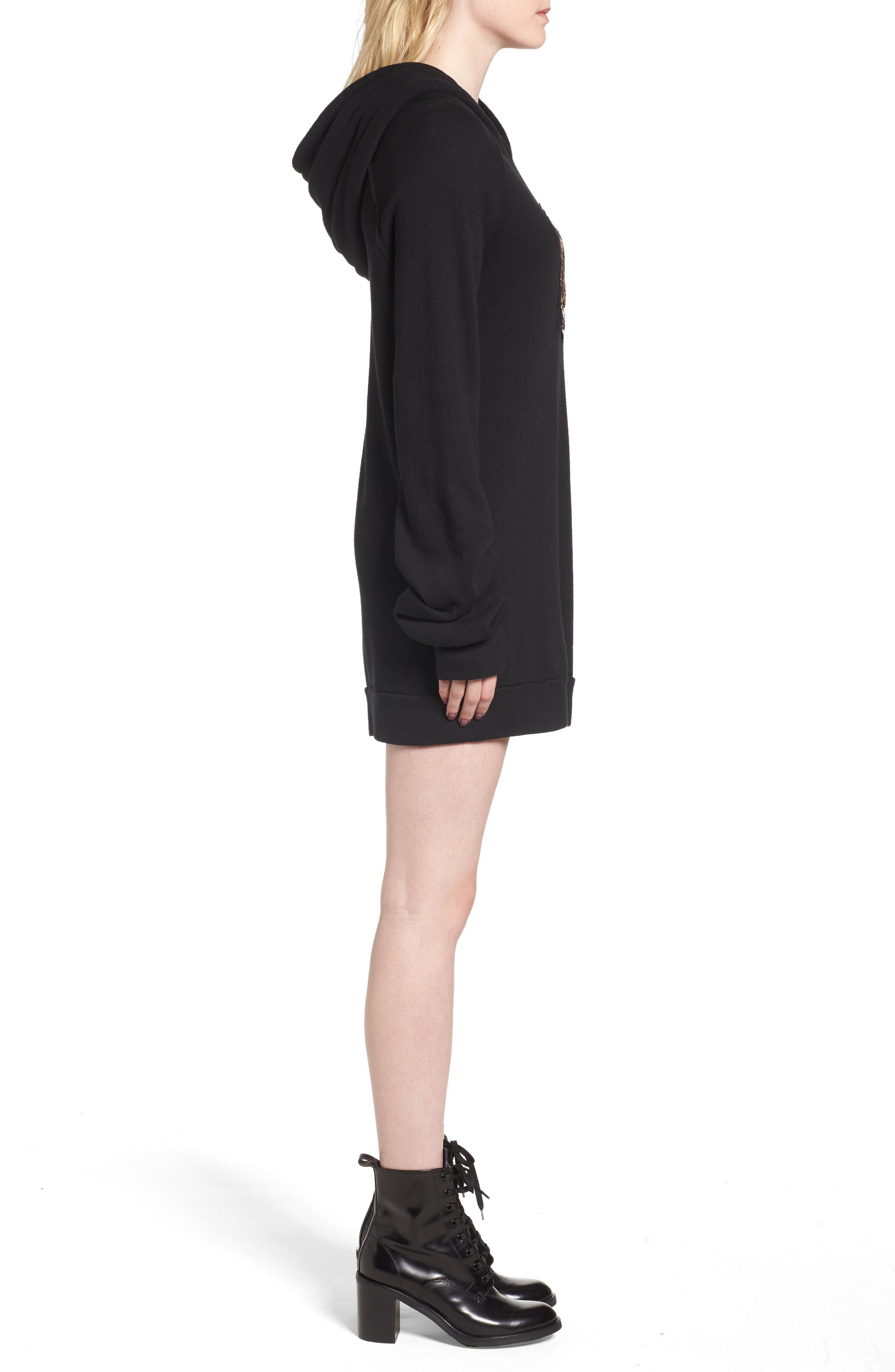 Crest Patch Sweatshirt Dress,                             Alternate thumbnail 3, color,                             Black