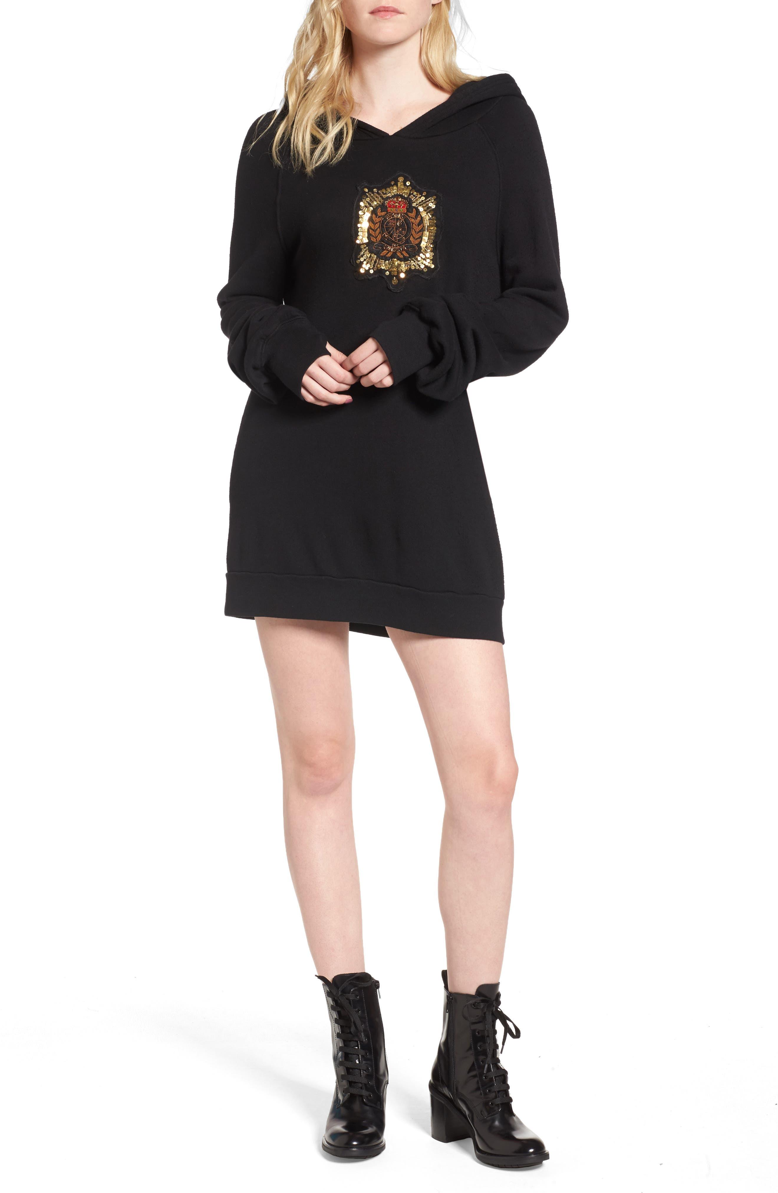 Crest Patch Sweatshirt Dress,                         Main,                         color, Black