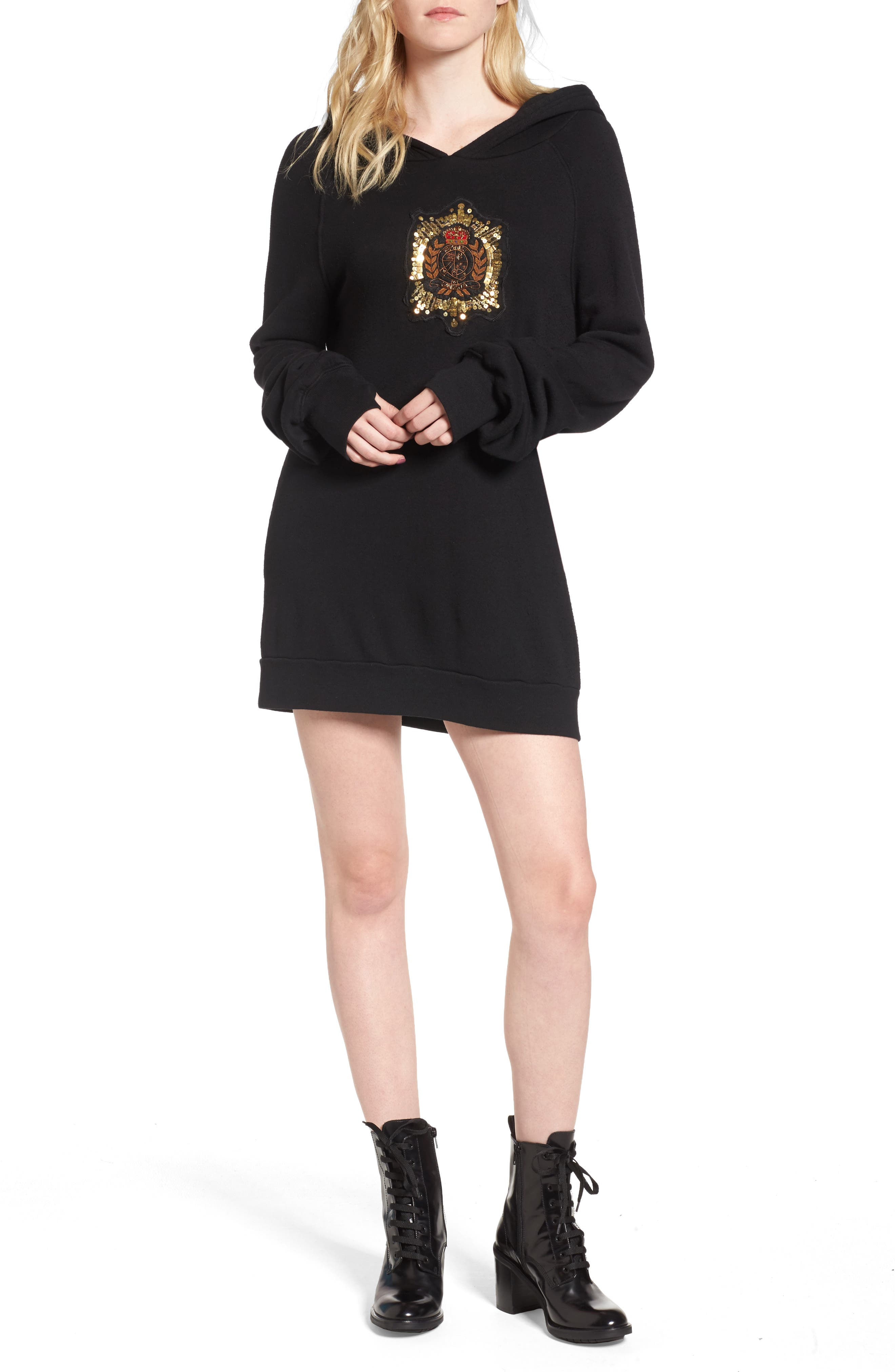 Pam & Gela Crest Patch Sweatshirt Dress