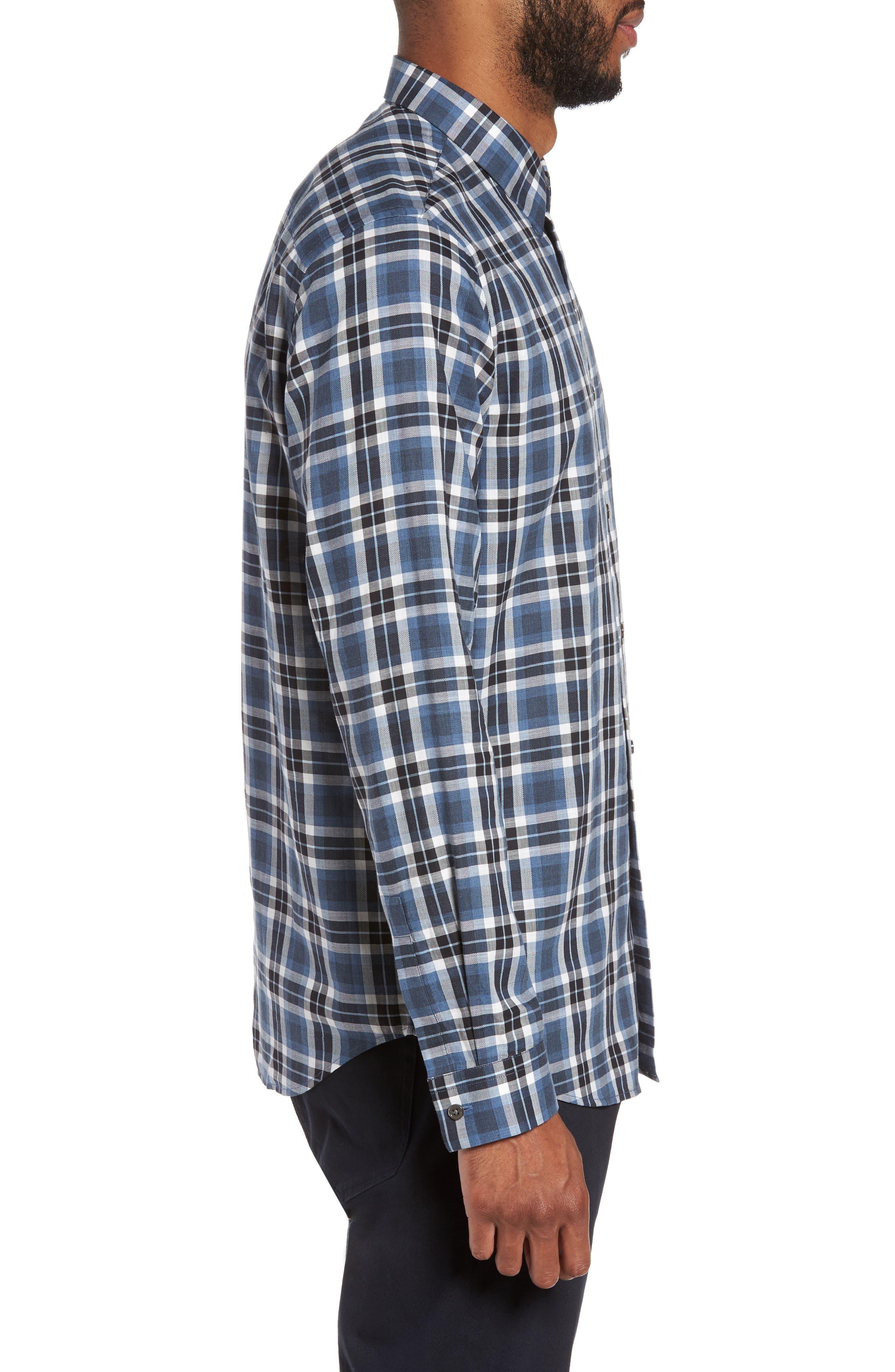 Trim Fit Plaid Flannel Shirt,                             Alternate thumbnail 3, color,                             River Multi