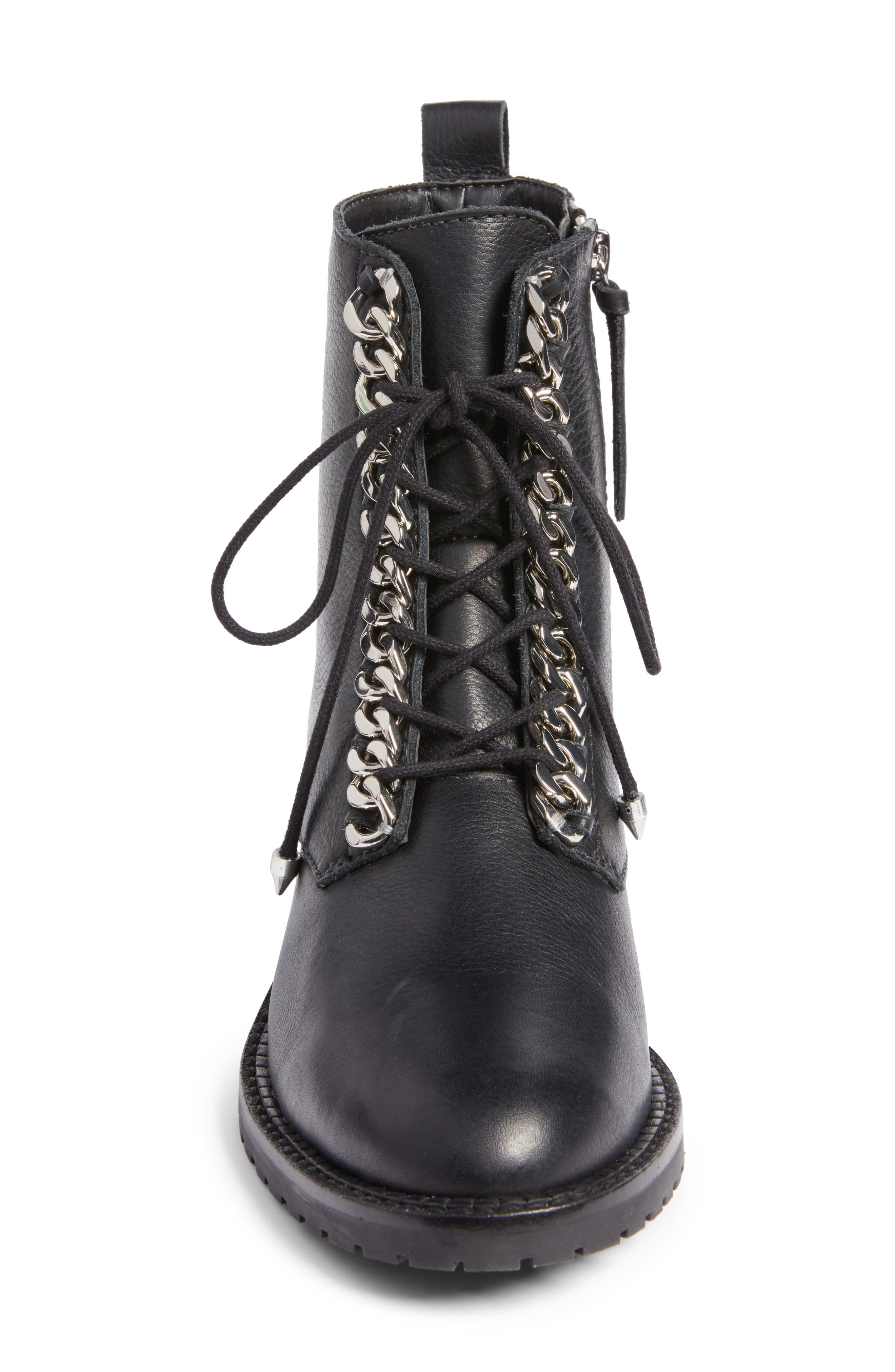 Gian Combat Boot,                             Alternate thumbnail 4, color,                             Black Leather