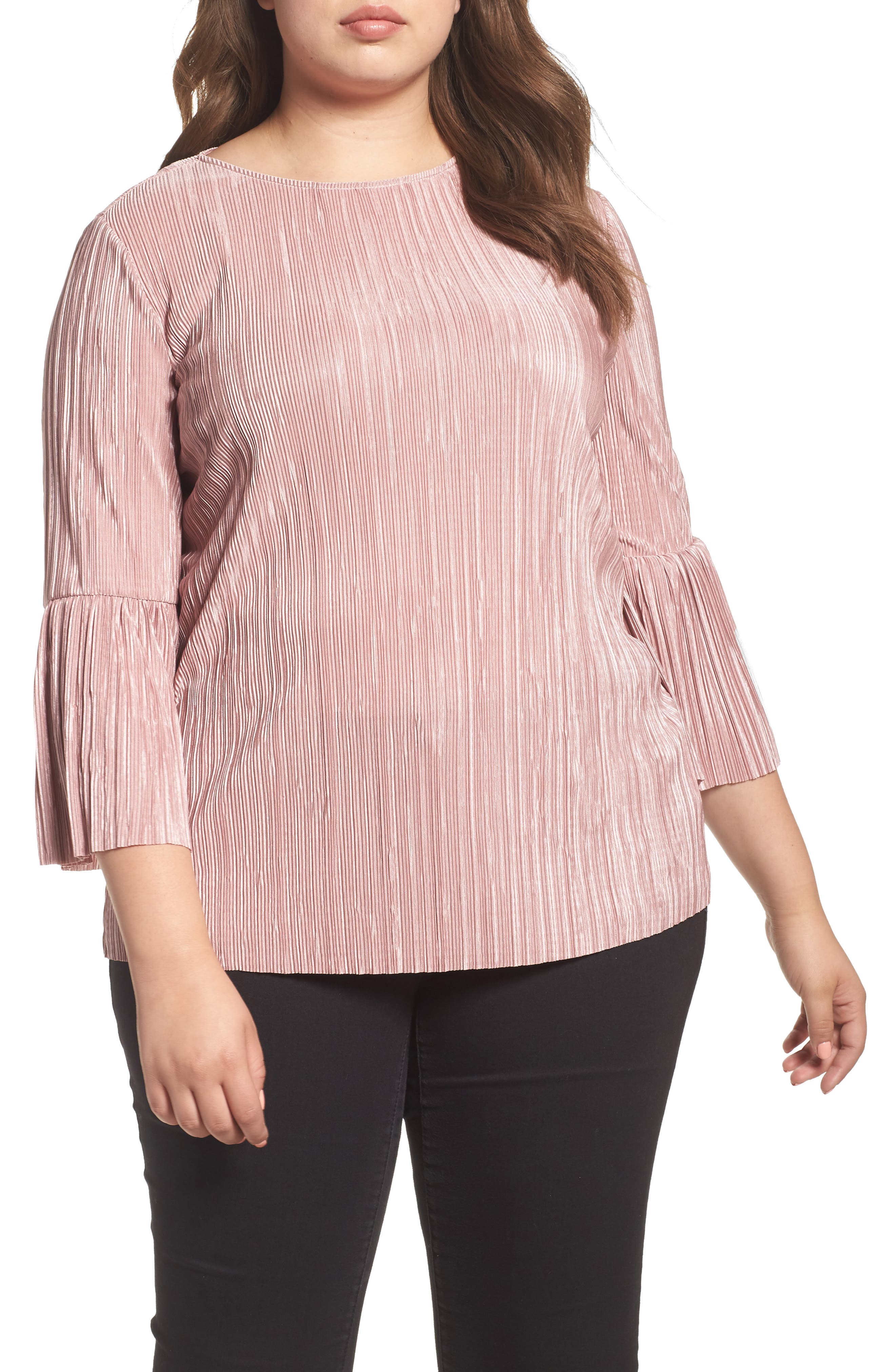 Main Image - Vince Camuto Pleated Knit Bell Sleeve Top (Plus Size)