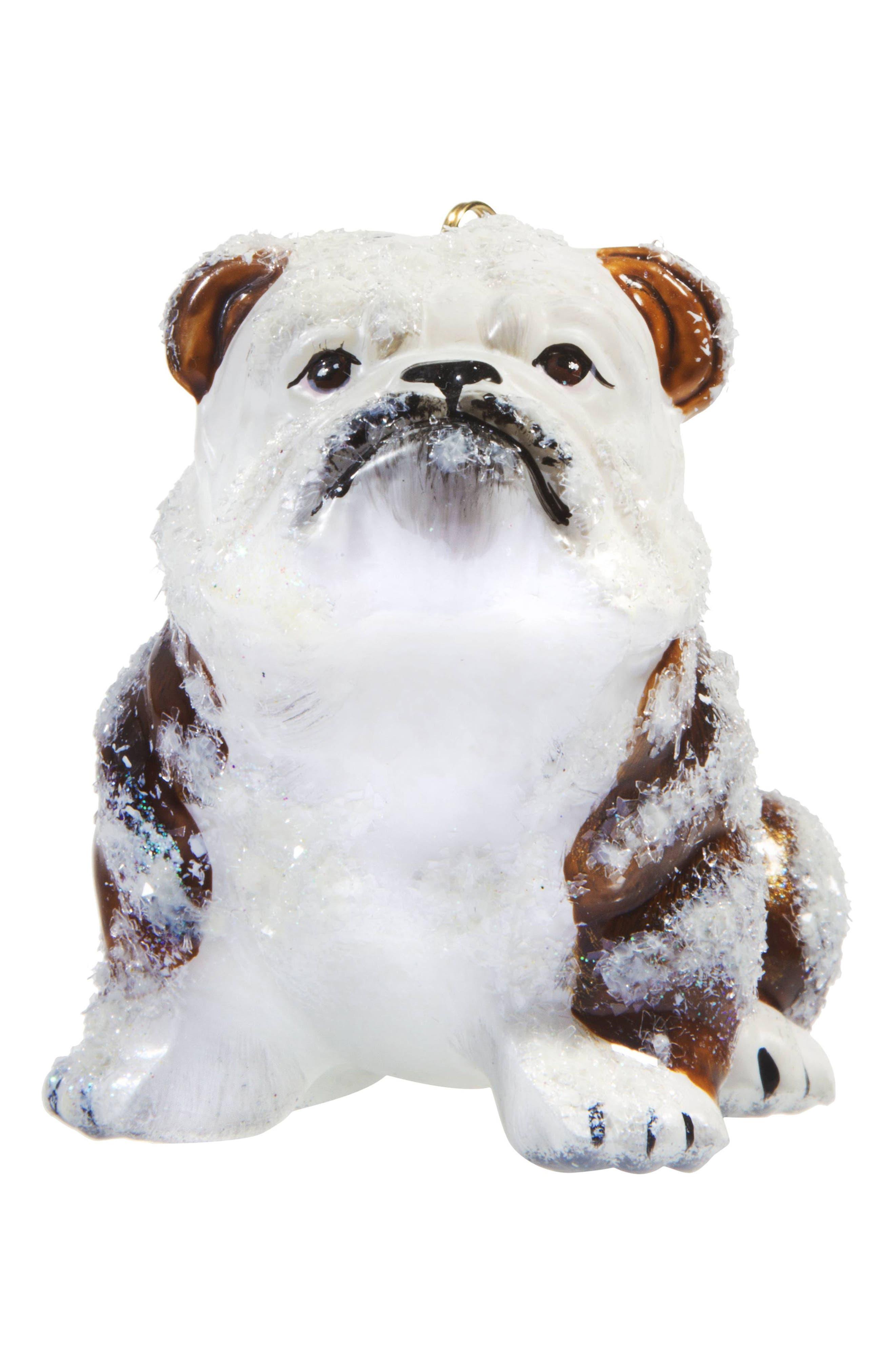 Snowy Bulldog Dog Ornament,                         Main,                         color, White