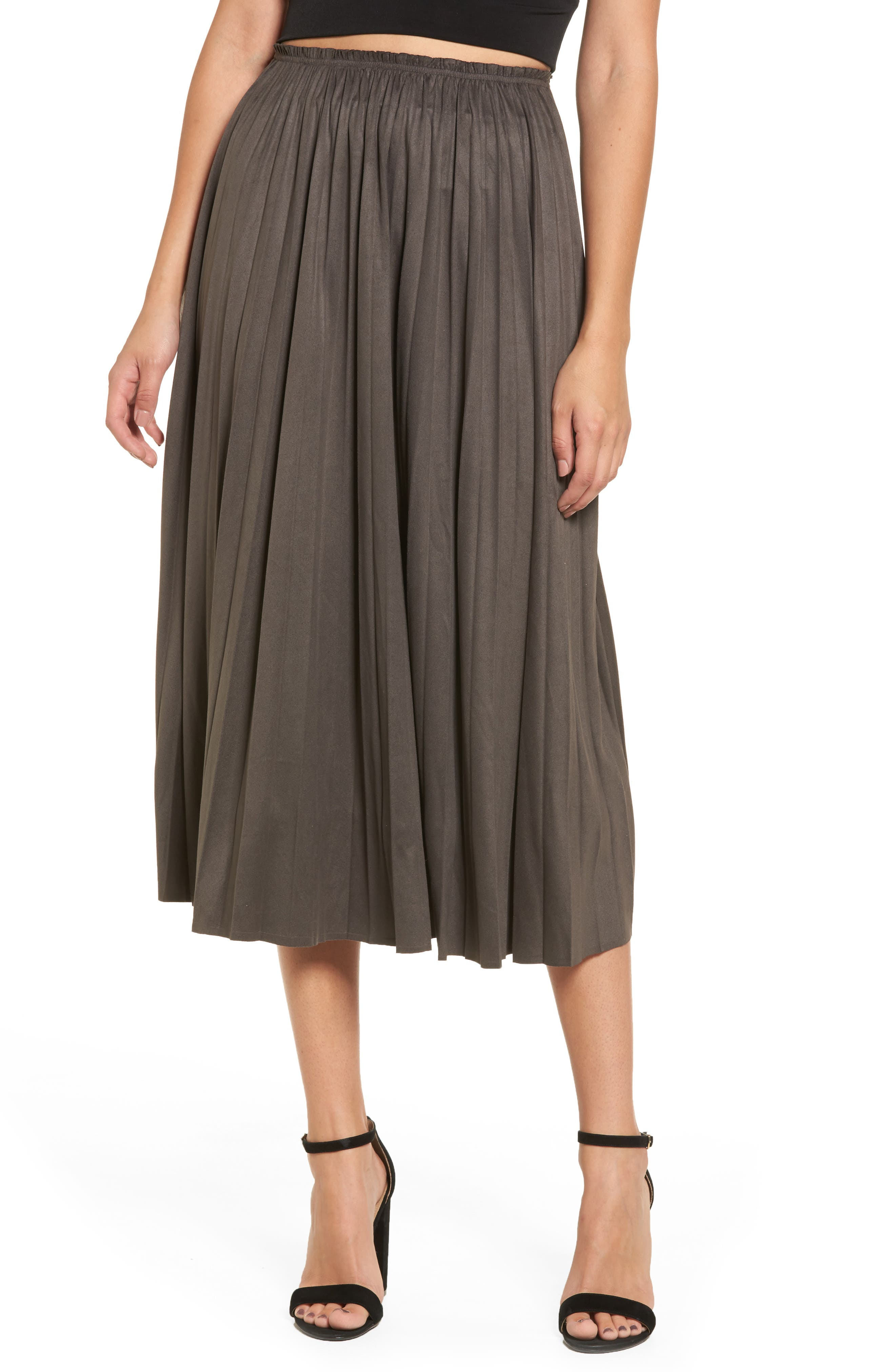 Moon River Pleated Faux Suede Midi Skirt