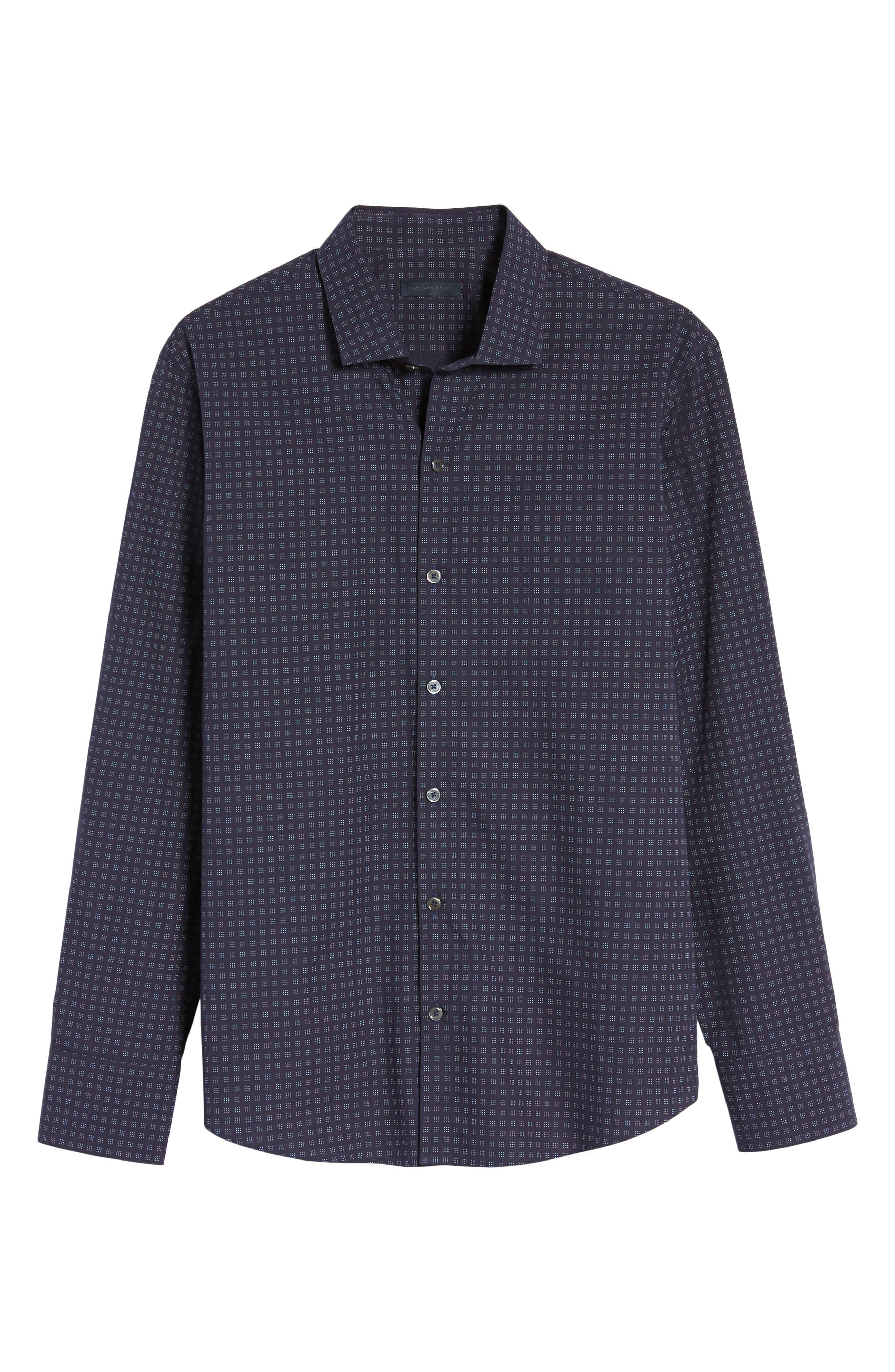 Maison Slim Fit Print Sport Shirt,                             Alternate thumbnail 6, color,                             Navy