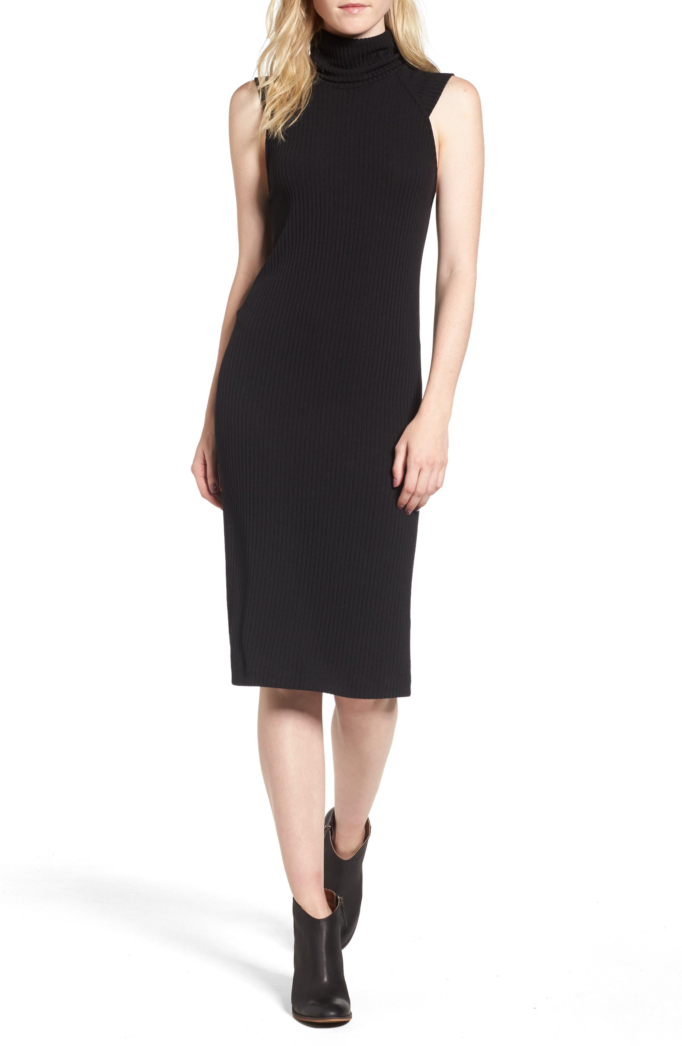 Sylvie Rib Knit Dress,                         Main,                         color, Black