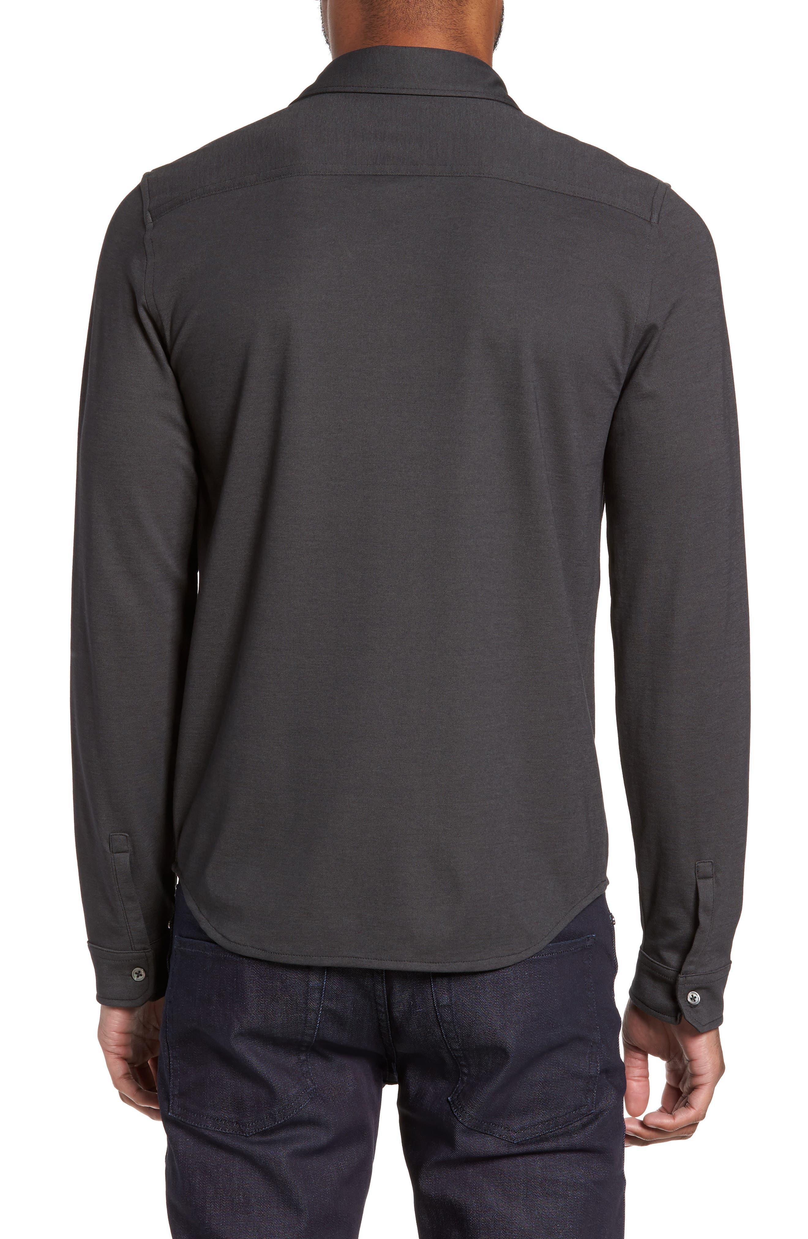 Glacier Knit Sport Shirt,                             Alternate thumbnail 2, color,                             Black