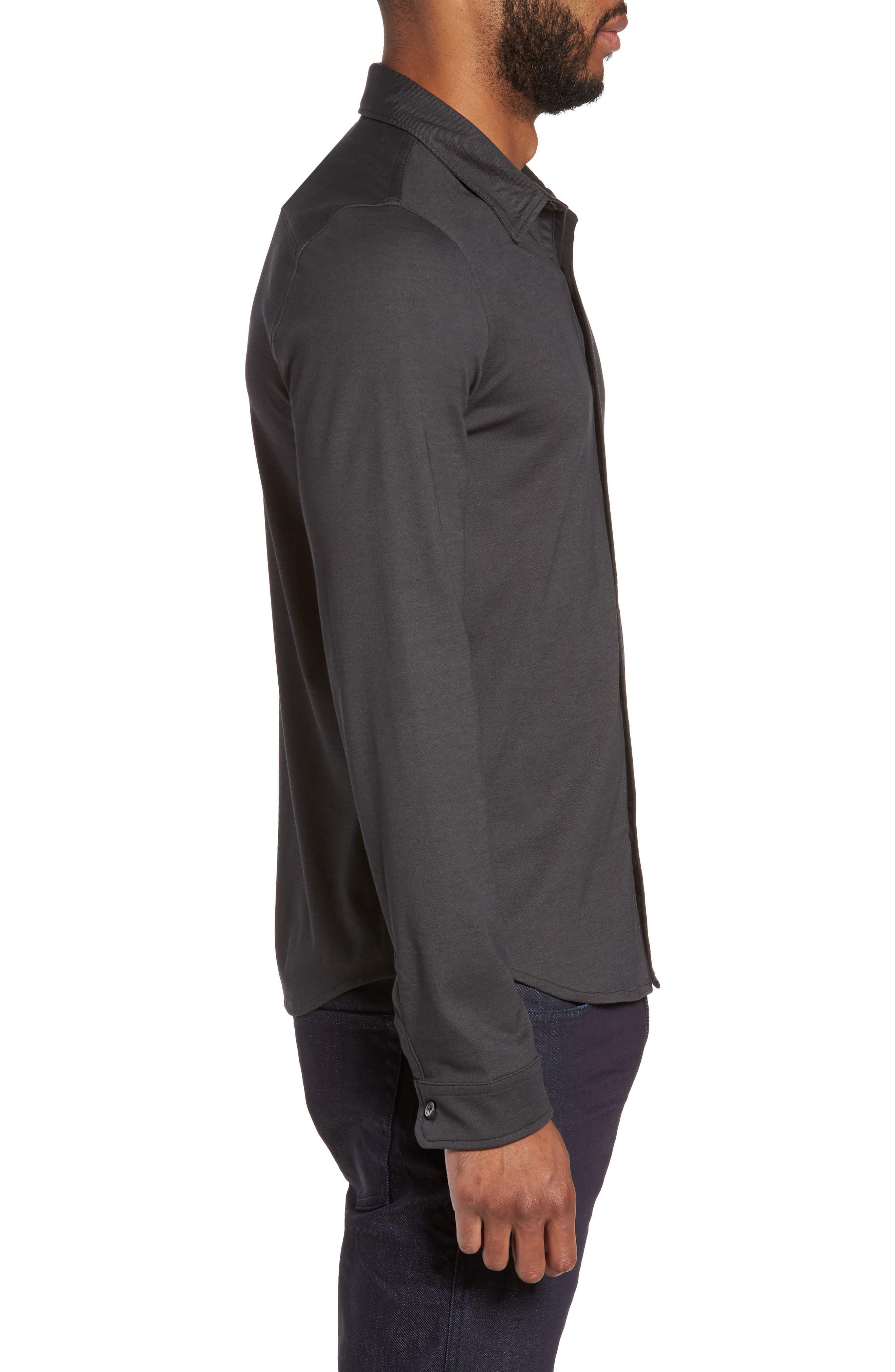 Glacier Knit Sport Shirt,                             Alternate thumbnail 3, color,                             Black