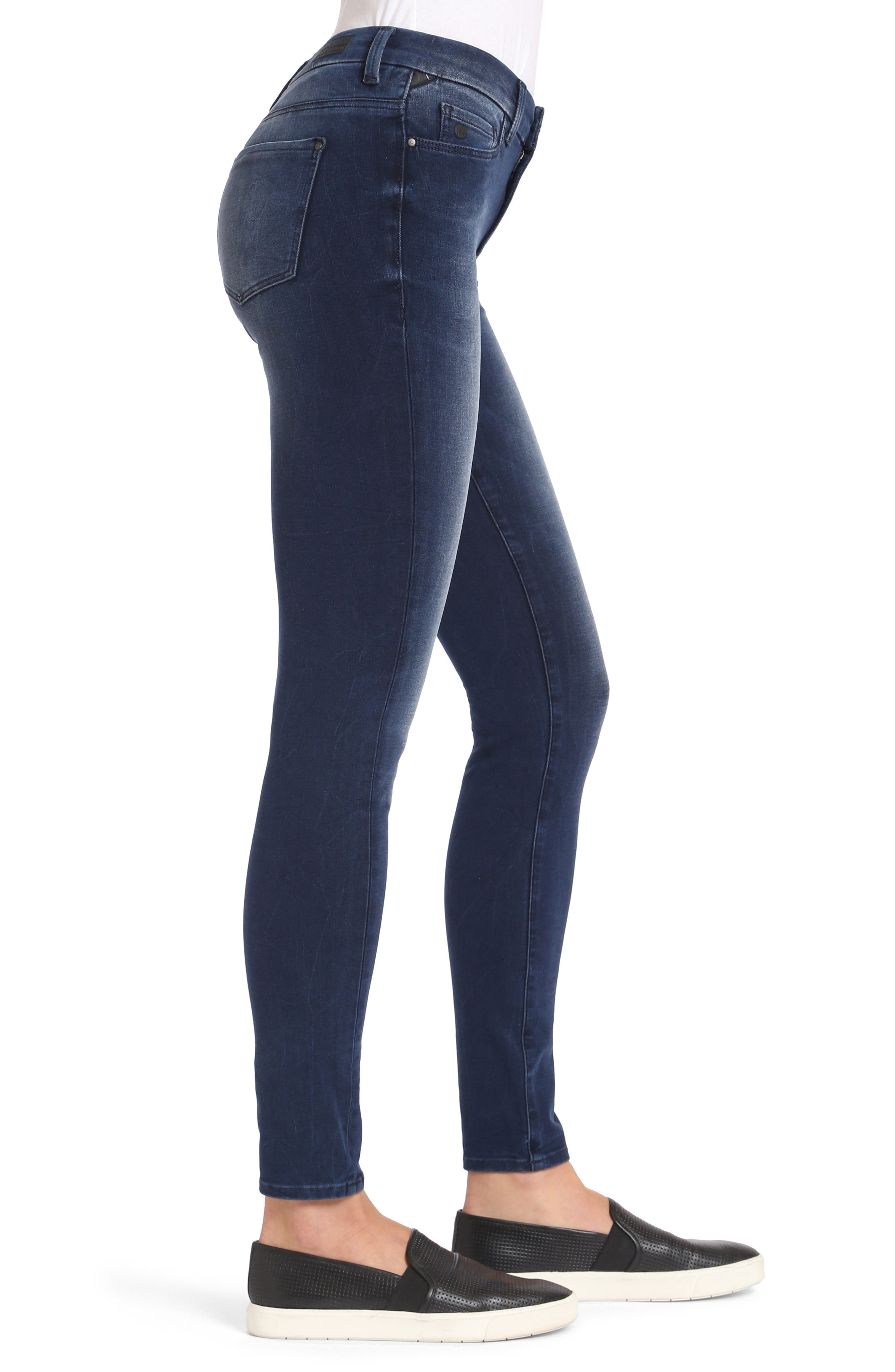 Alissa Stretch Slim High Rise Ankle Jeans,                             Alternate thumbnail 3, color,                             Ink Bi Stretch