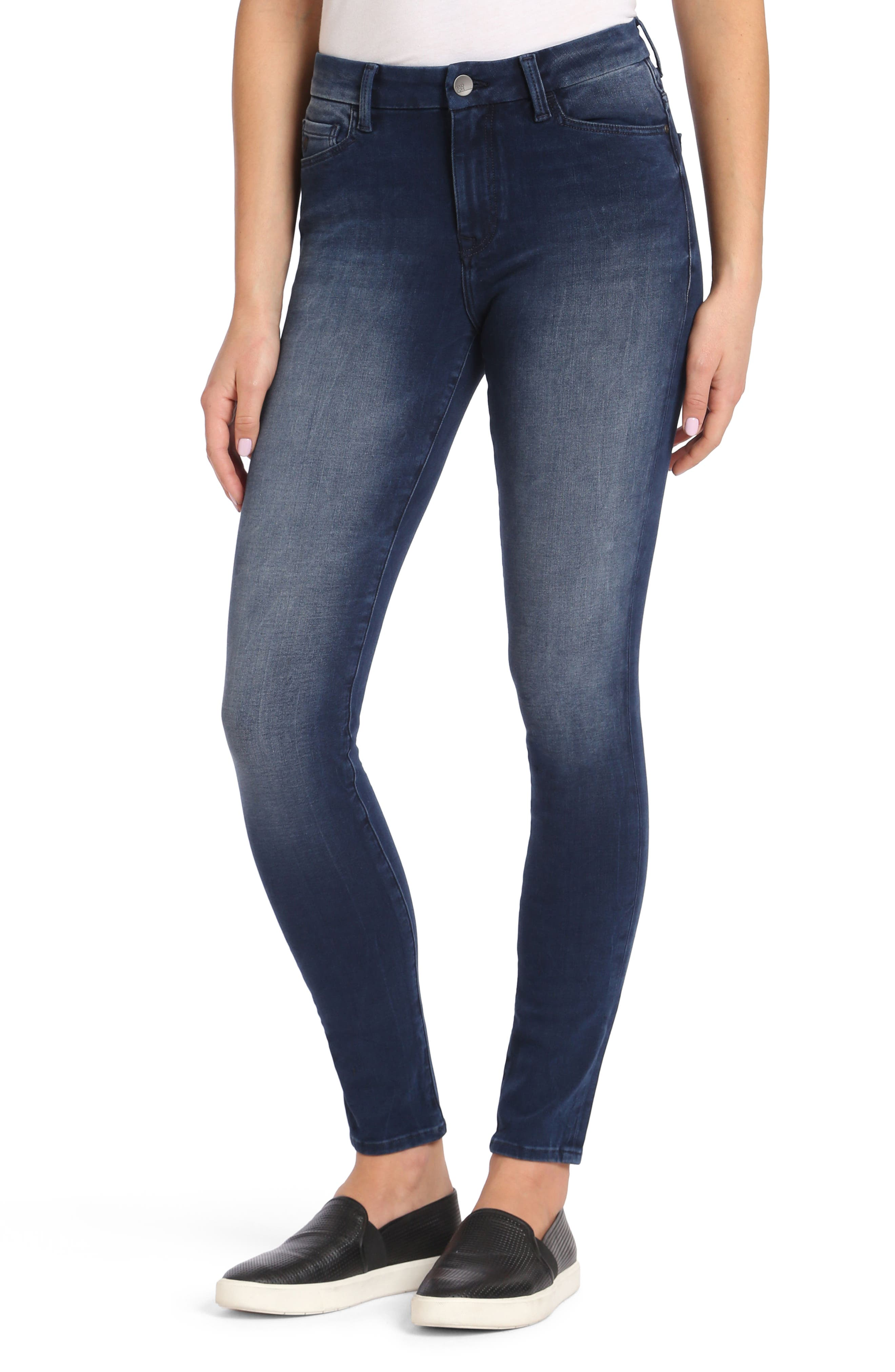 Alternate Image 1 Selected - Mavi Jeans Alissa Stretch Slim High Rise Ankle Jeans (Ink Bi Stretch)
