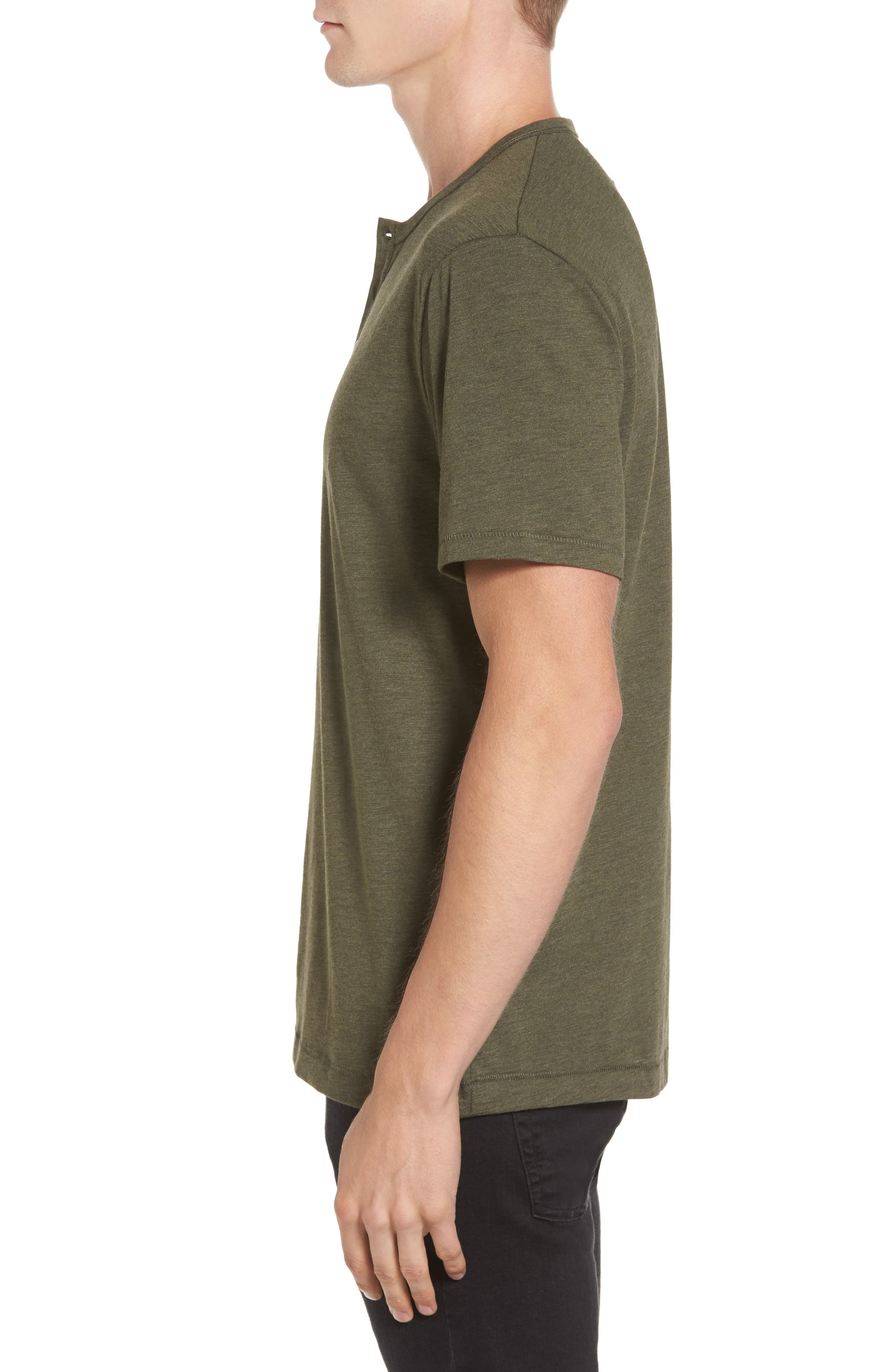 Bing Short Sleeve Henley Shirt,                             Alternate thumbnail 3, color,                             Forest Night