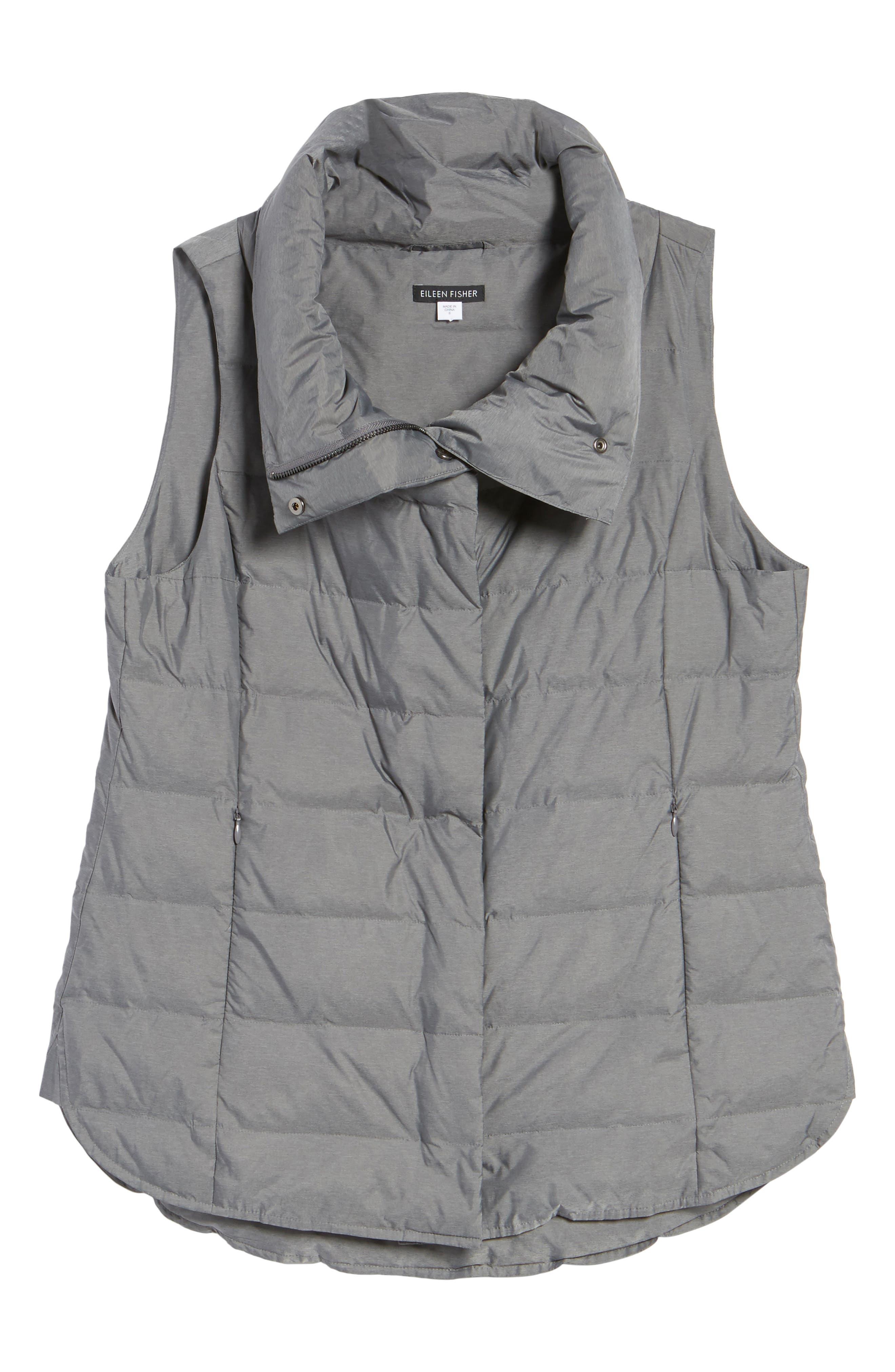 Stand Collar Vest,                             Alternate thumbnail 6, color,                             Ash