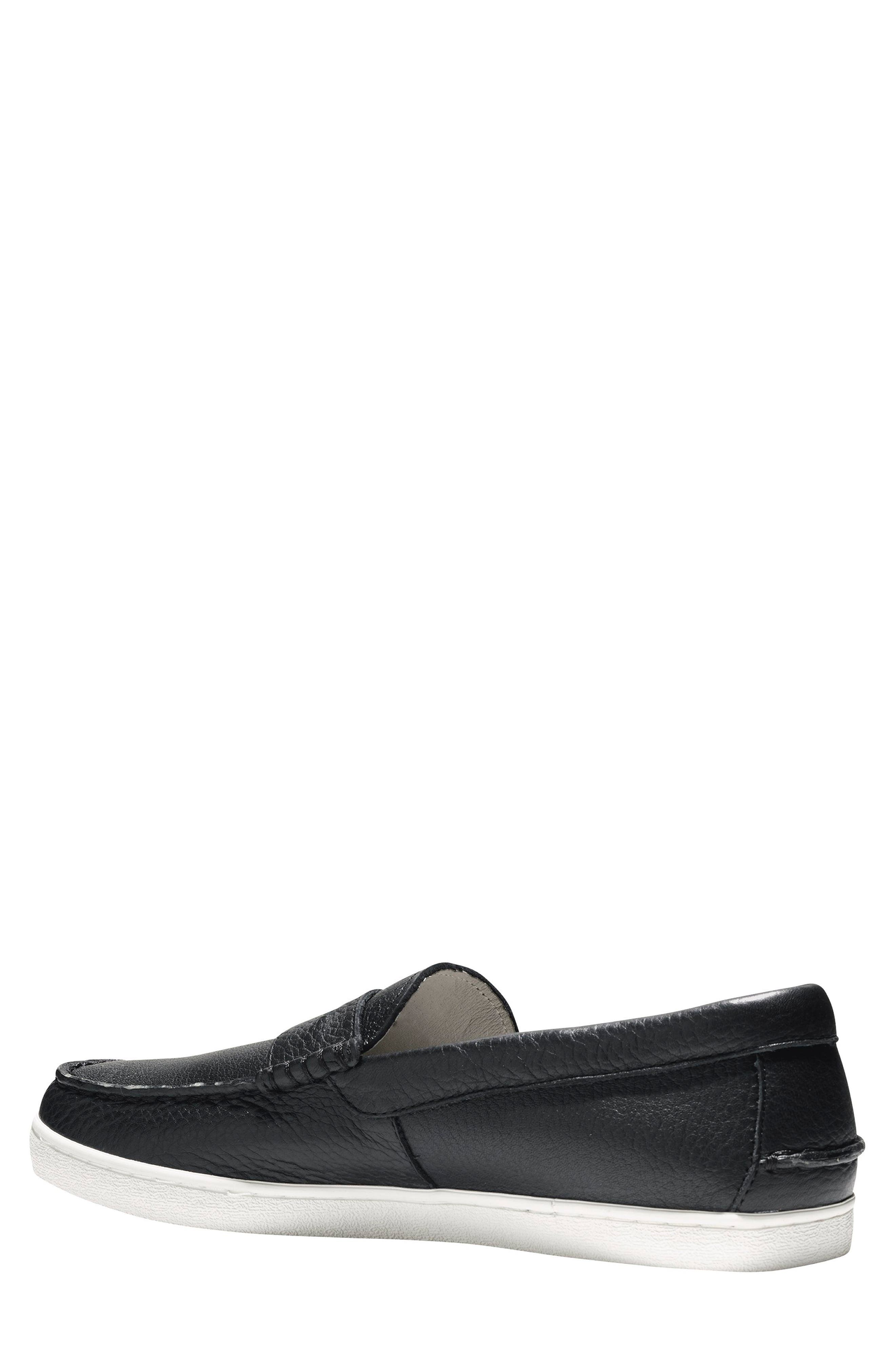 'Pinch' Penny Loafer,                             Alternate thumbnail 2, color,                             Black Leather/ White