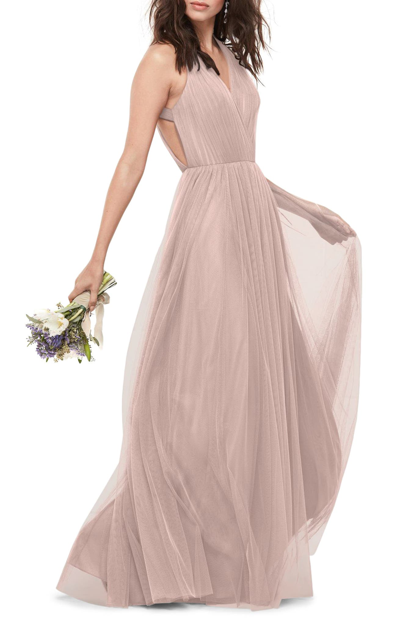 Alternate Image 1 Selected - WTOO Bobbinet Halter Gown