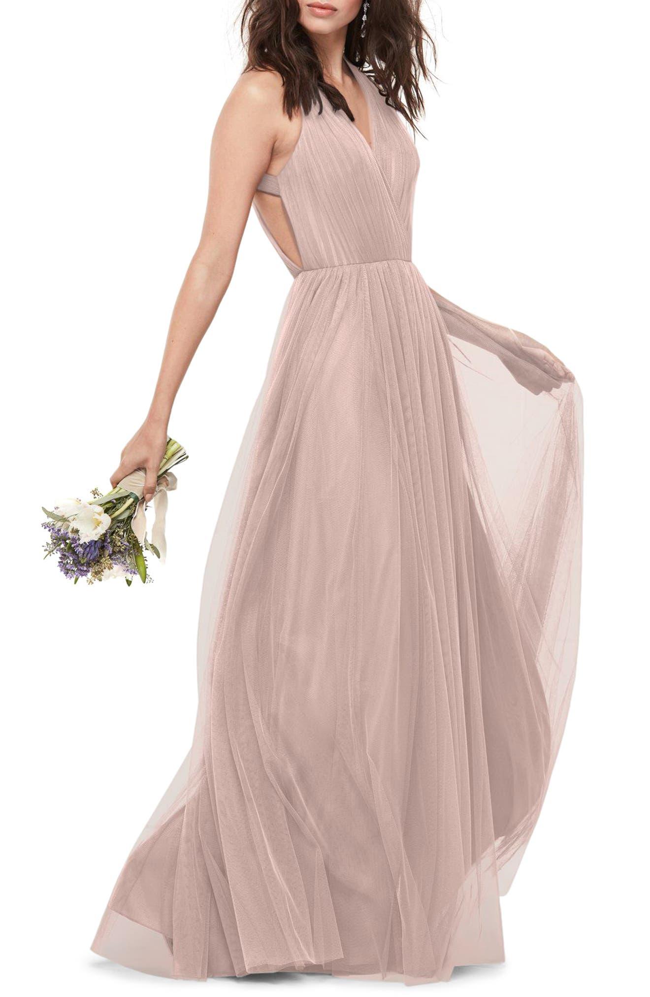 Main Image - WTOO Bobbinet Halter Gown