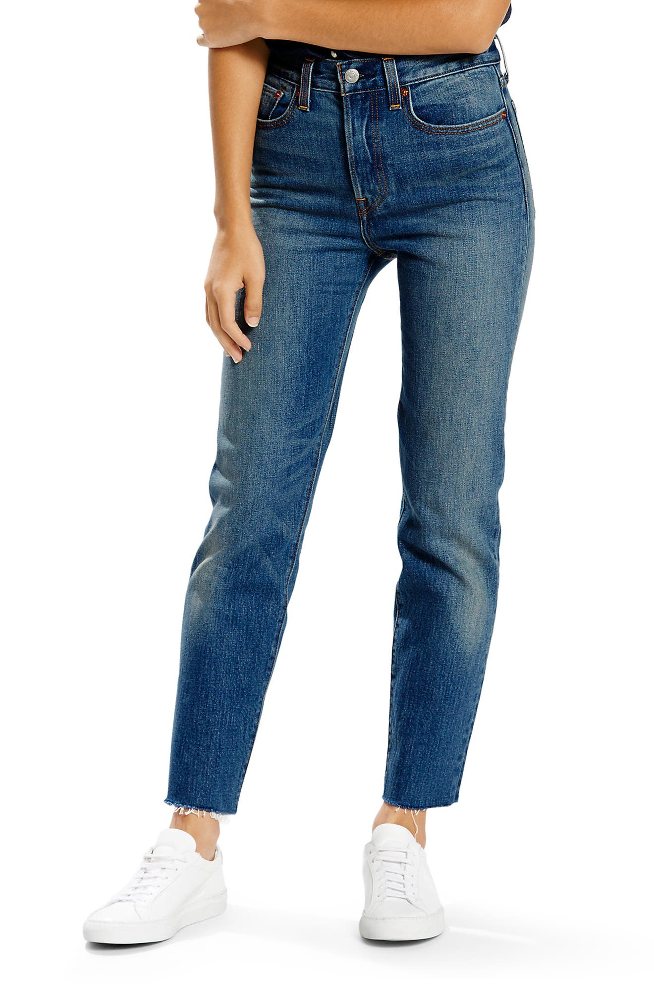 Wedgie High Waist Straight Jeans,                             Main thumbnail 1, color,                             Classic Tint