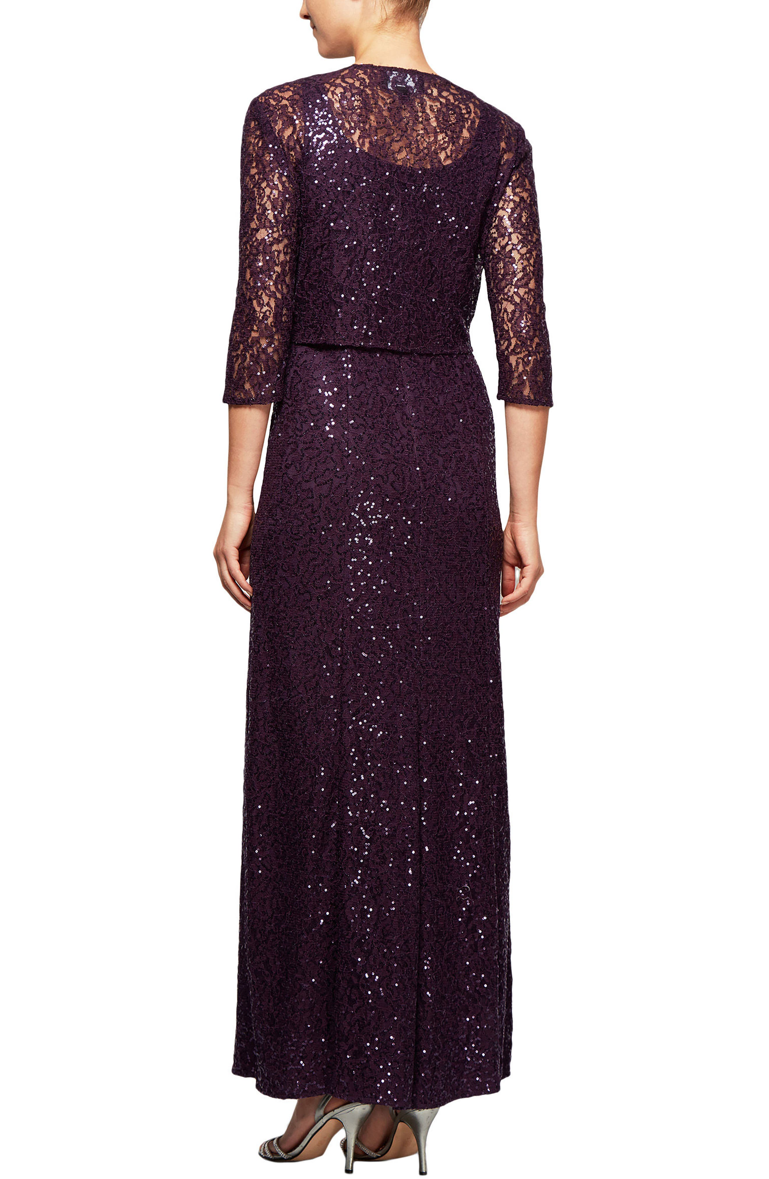 Alternate Image 3  - Alex Evenings Sequin Lace Long Dress with Jacket