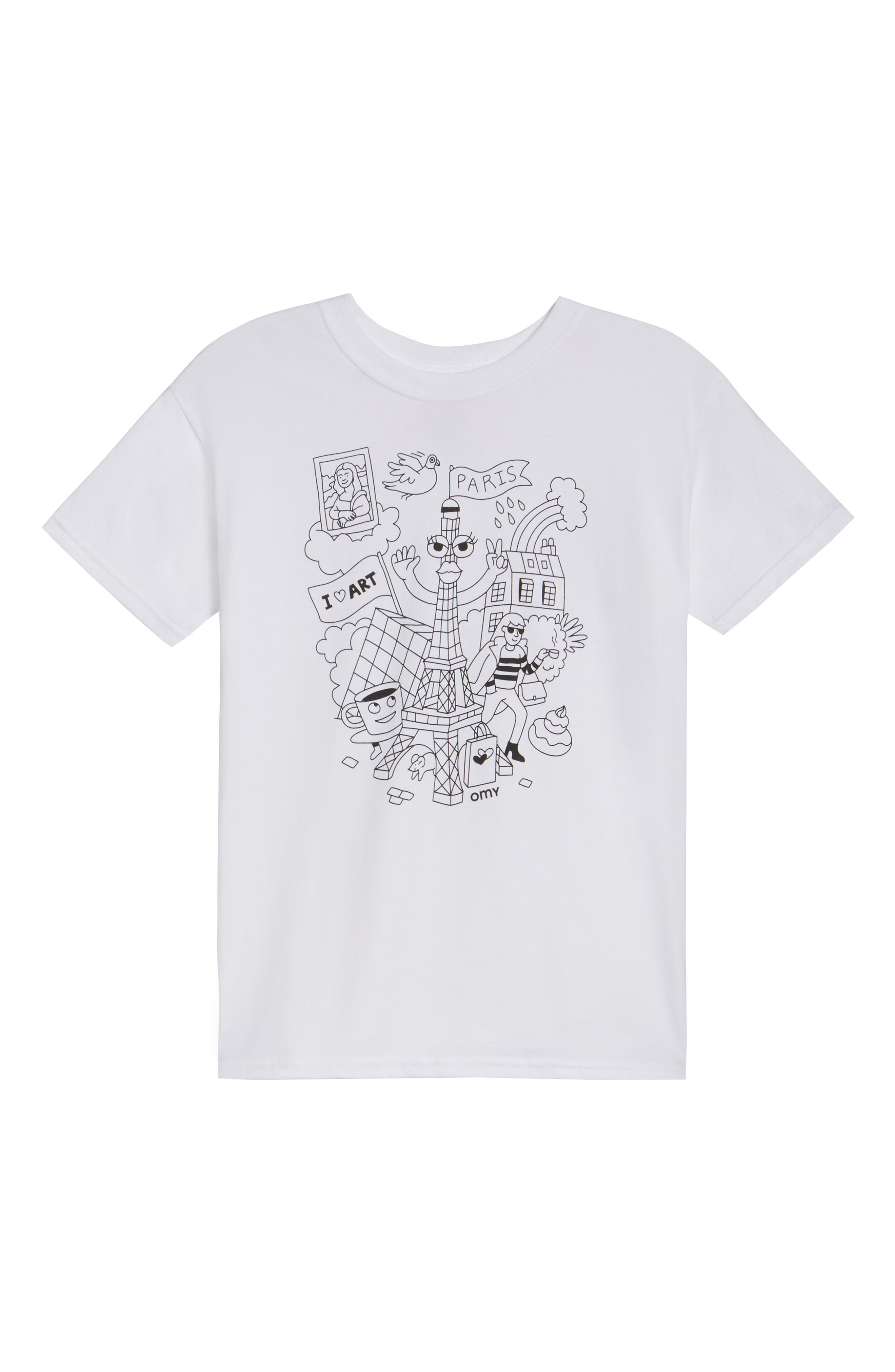 OMY Paris Graphic T-Shirt & Colored Markers Set (Kids)